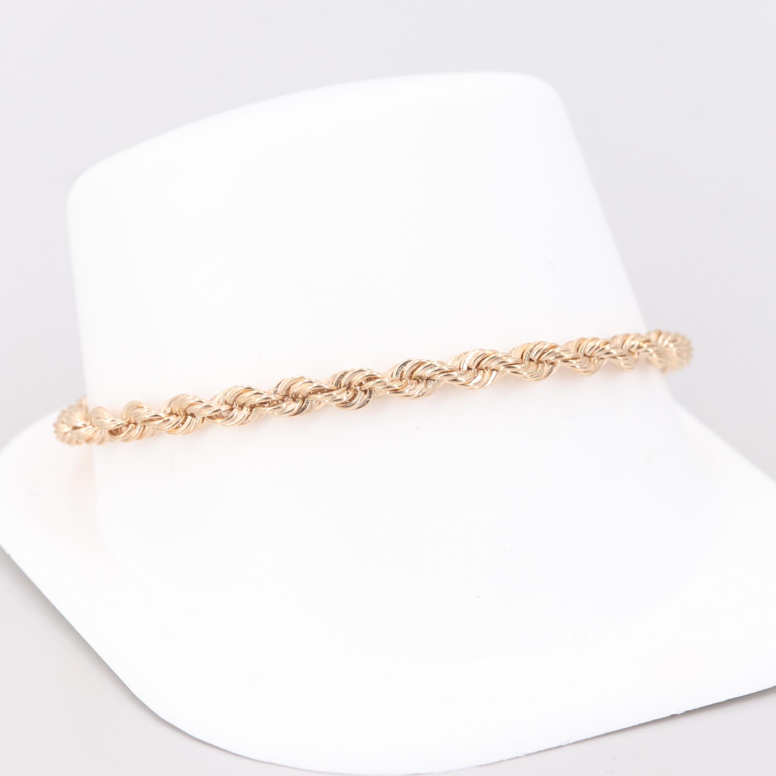 14K Yellow Gold French Rope Chain Bracelet