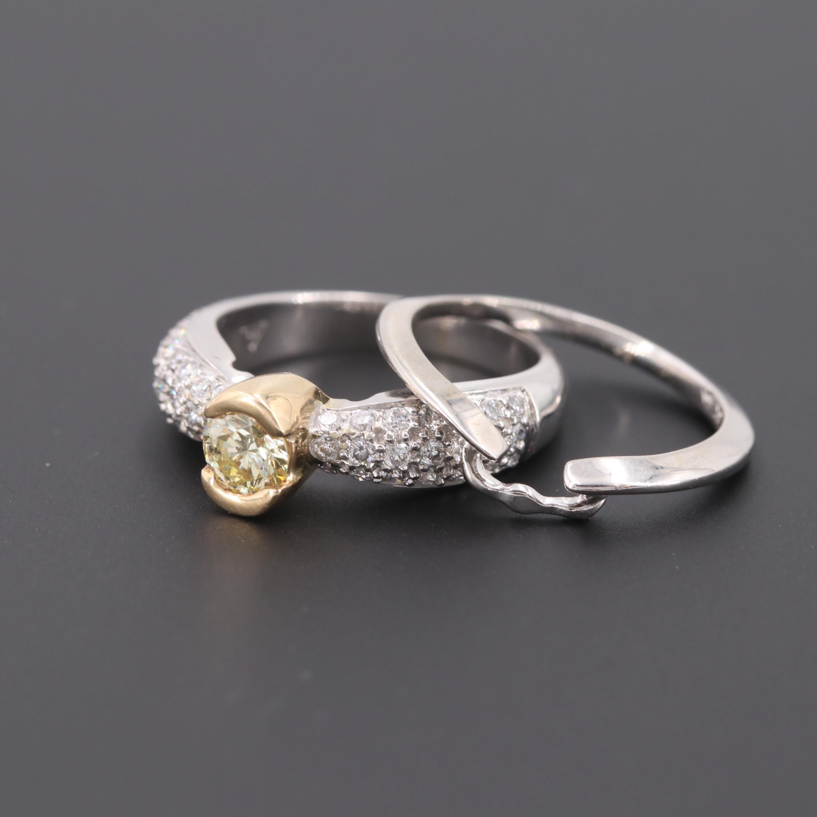 14K White Gold 1.02 CTW Diamond Interlocking Ring Set