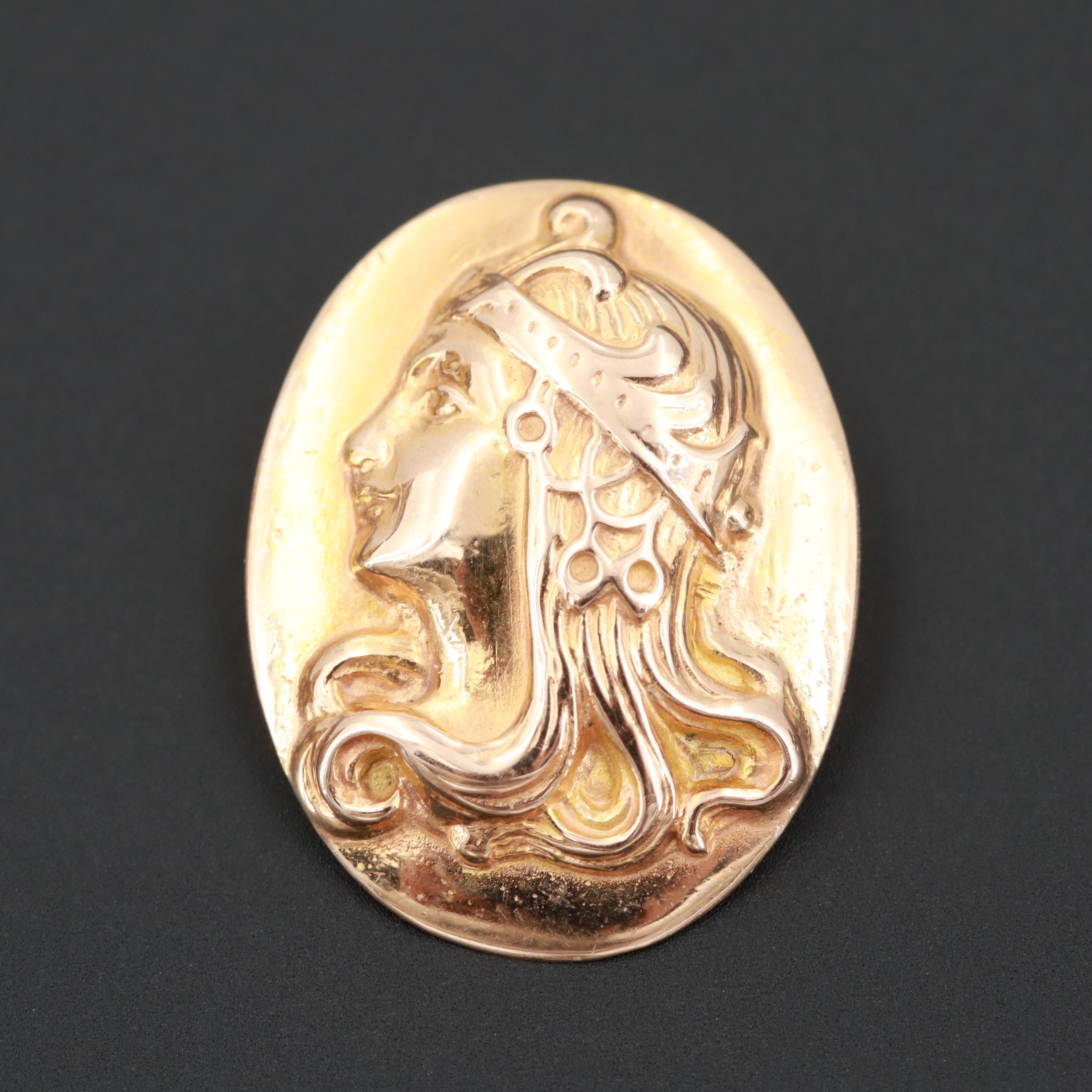 Egyptian Revival 14K Yellow Gold Pendant