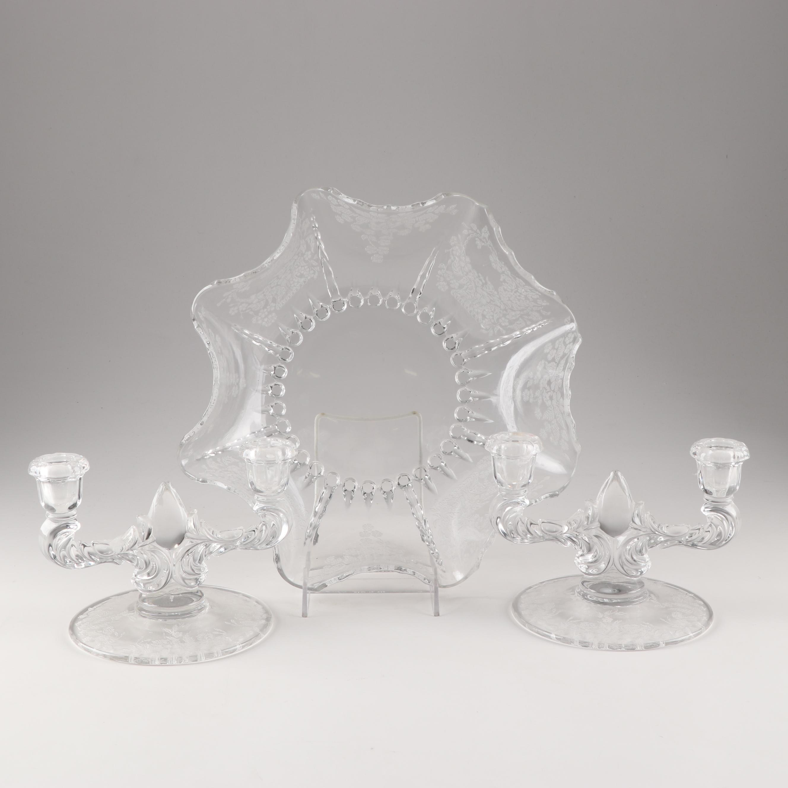 "New Martinsville ""Flower Basket"" Glass Candlesticks and Matching Bowl"