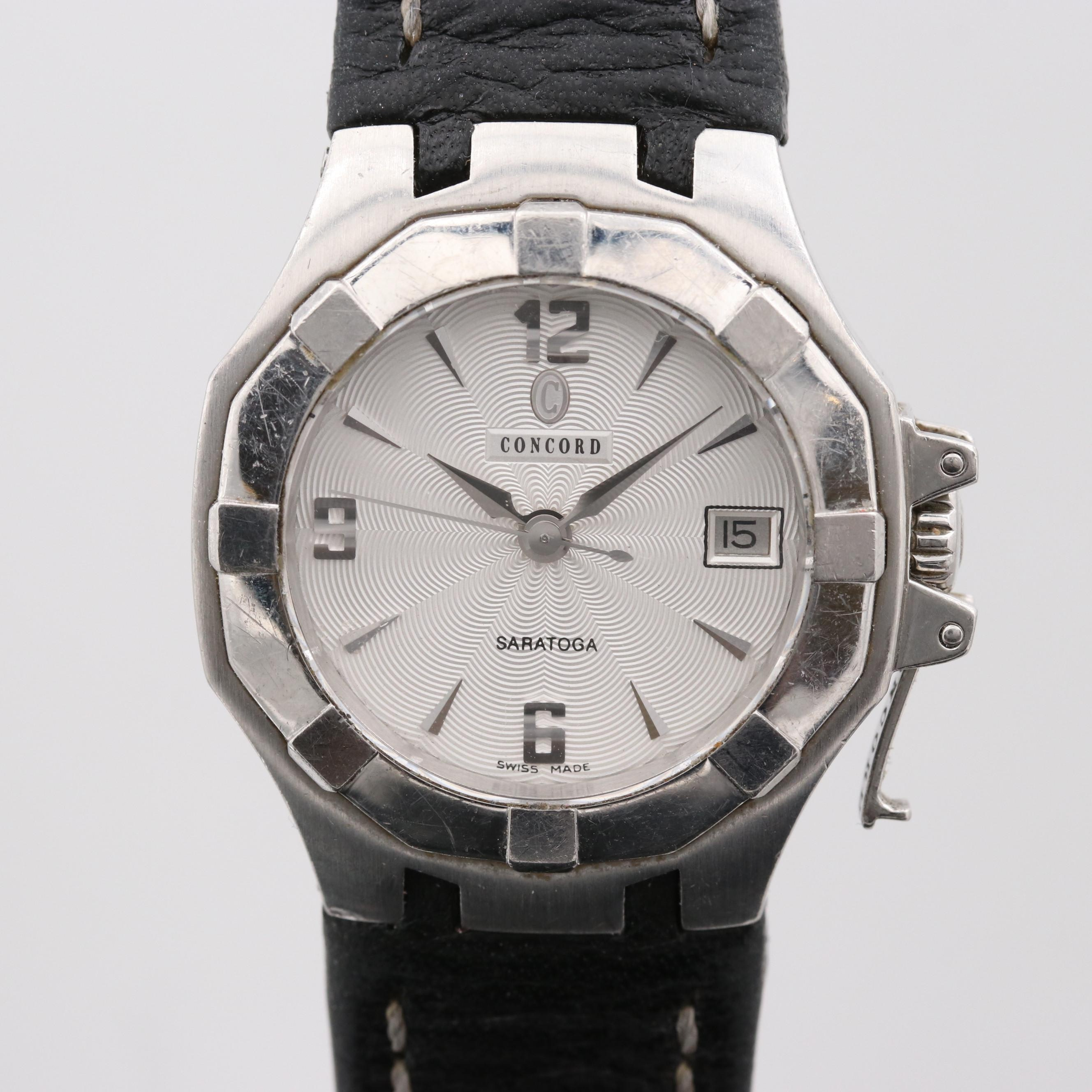 Concord Saratoga Stainless Steel Quartz Wristwatch With Date Window