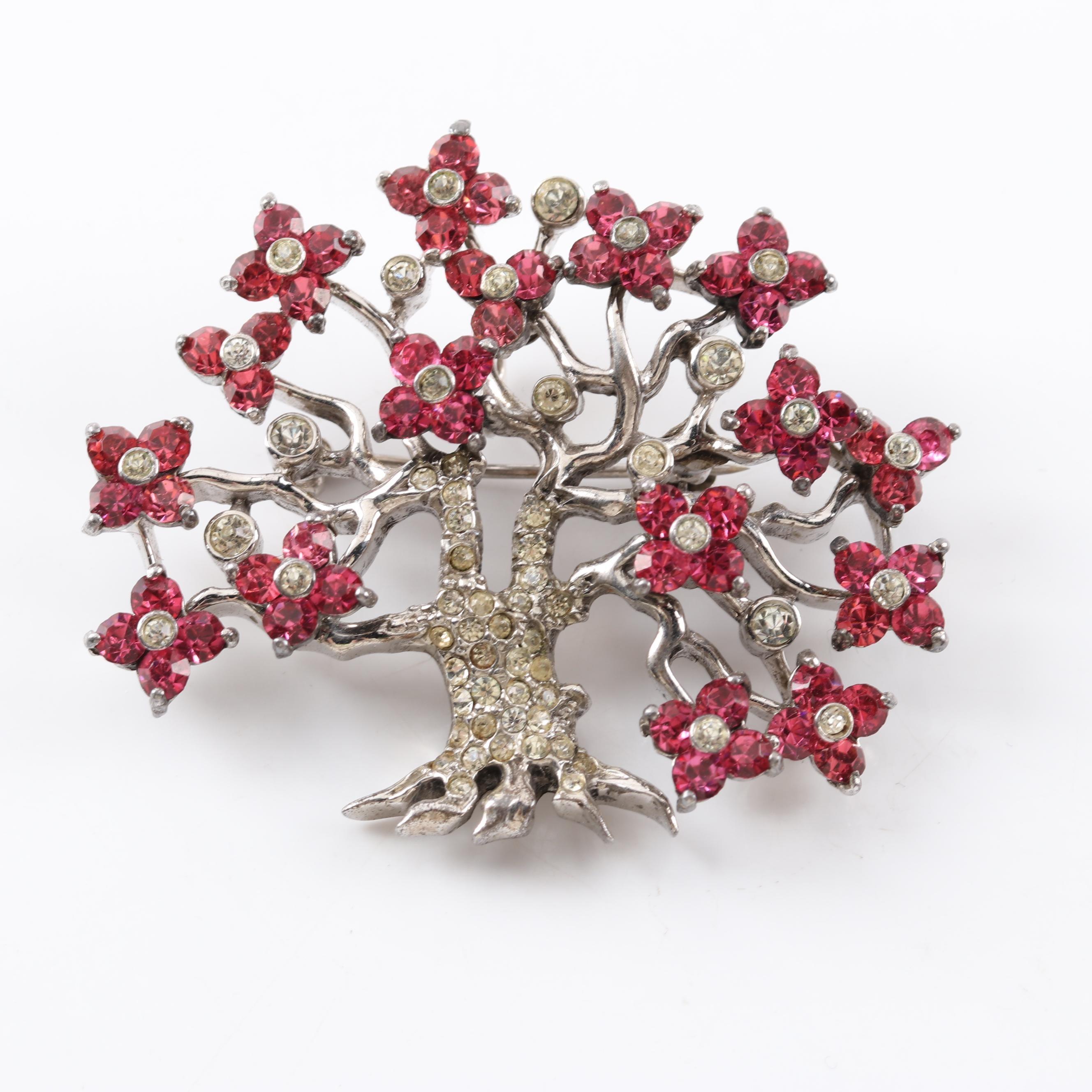 Sterling Silver Crystal Flower Tree Pendant Brooch