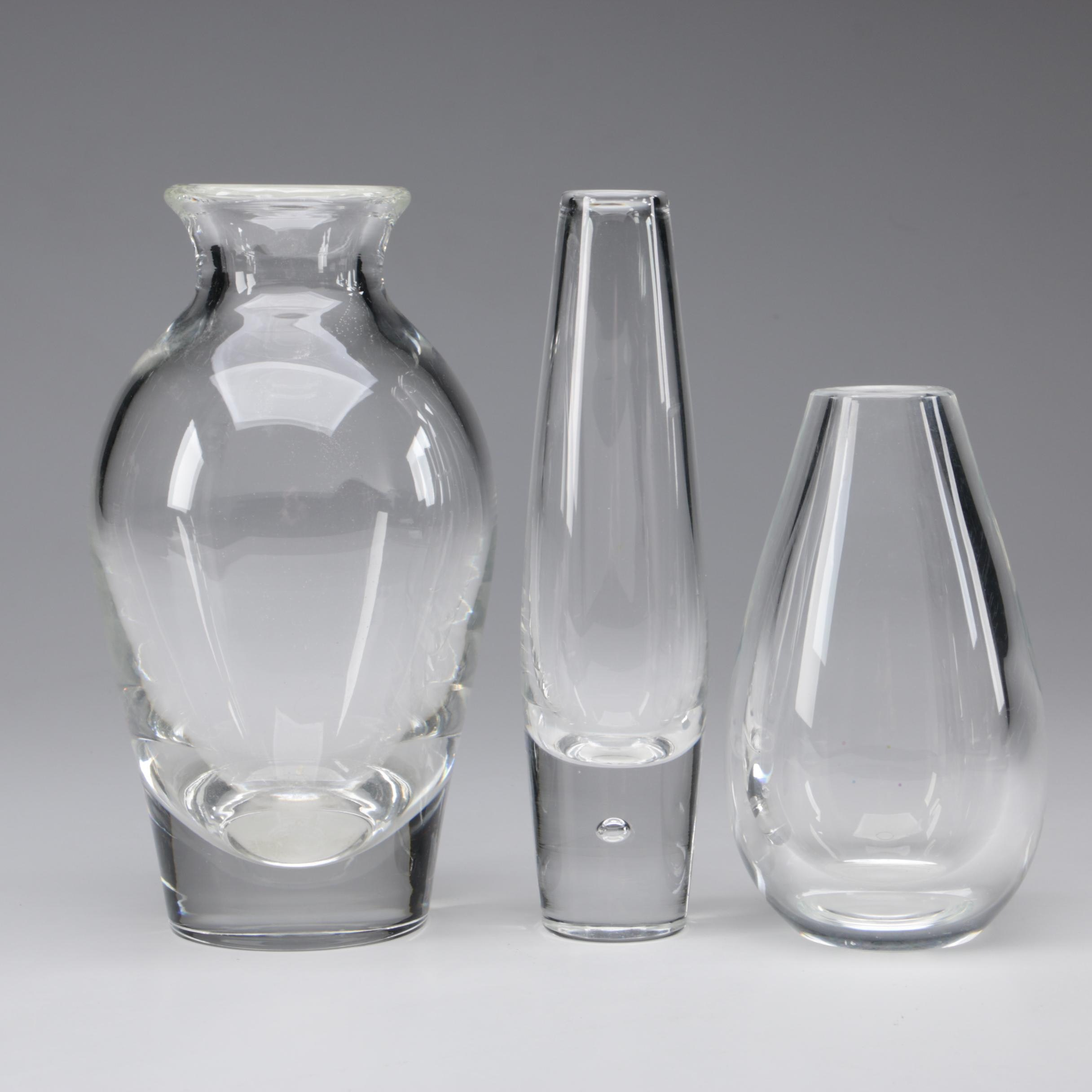 Steuben Art Glass Vases including Teardrop Bud Vase by David Hills, 1949