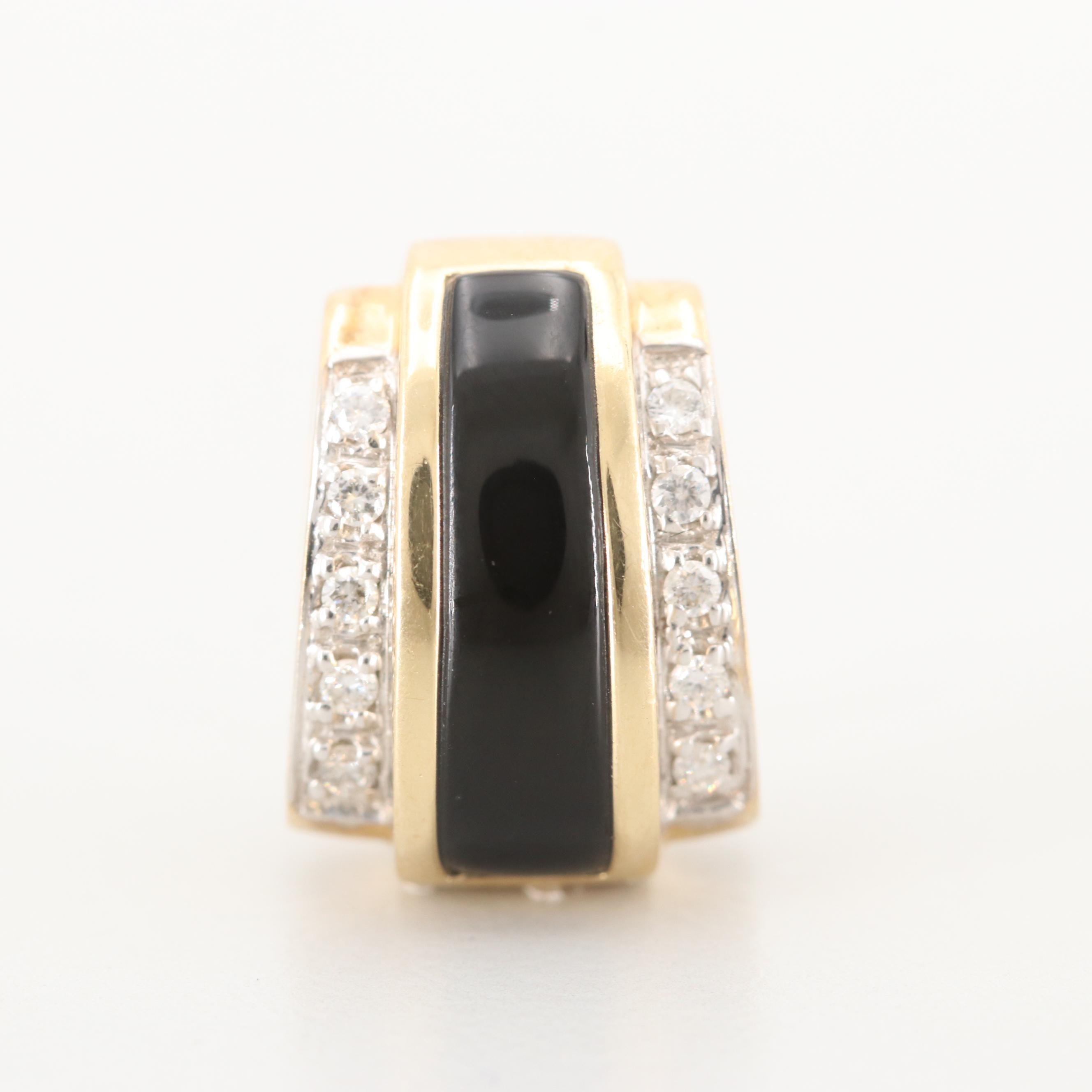 14K Yellow Gold Black Onyx and Diamond Slide Pendant