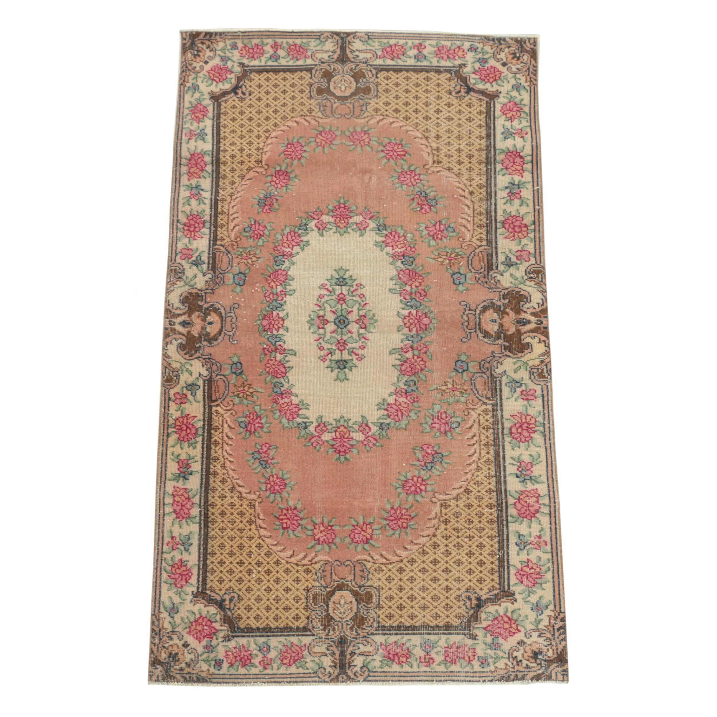 Hand-Knotted Turkish Savonnerie Style Wool Area Rug