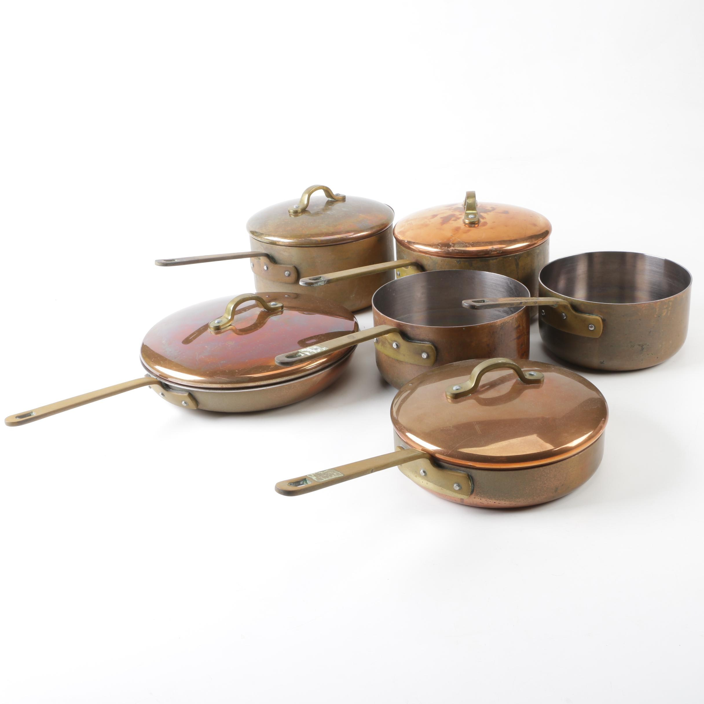 Irish Castle Copper Cookware 89 and 90 Sauce Pots and Skillets