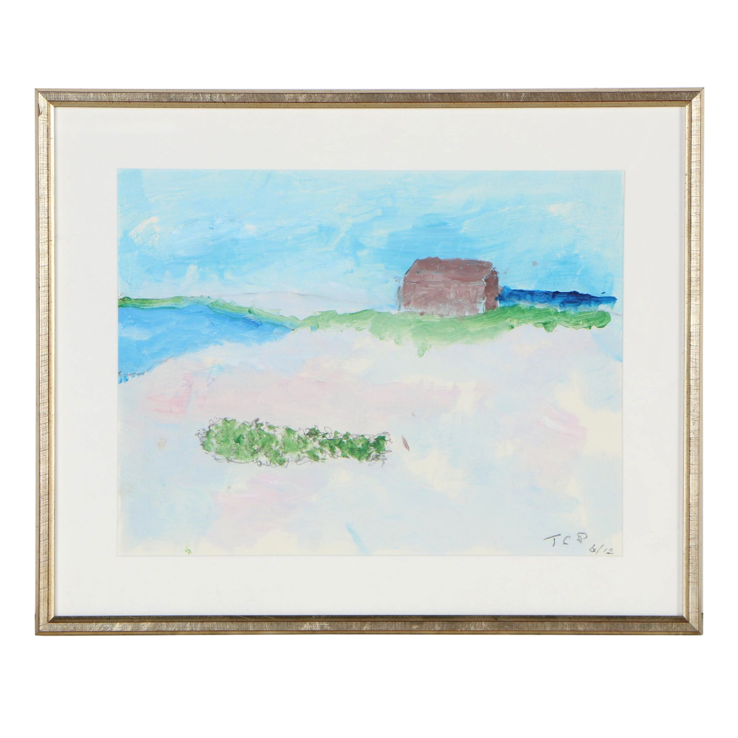 T.C.P. Acrylic Painting of a Seaside Landscape