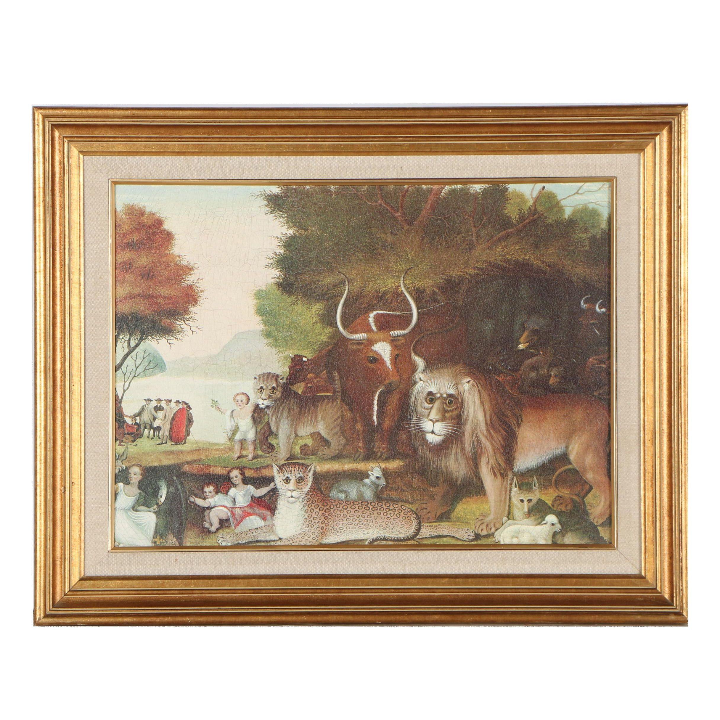 "Embellished Giclée after Edward Hicks ""The Peaceable Kingdom"""