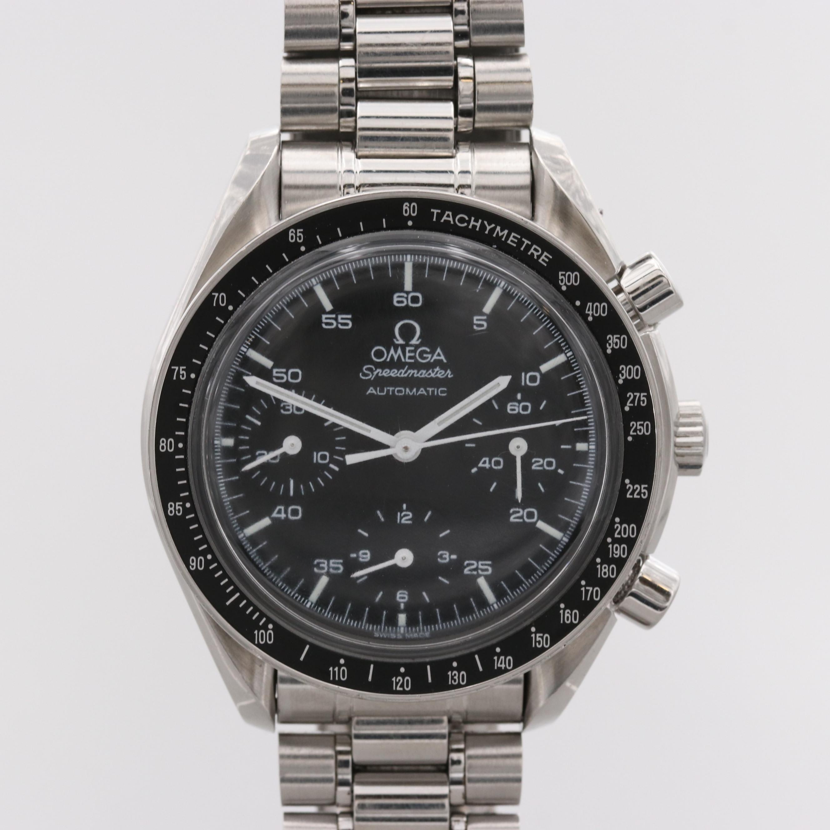 Omega Speedmaster Reduced Stainless Steel Automatic Chronograph Wristwatch