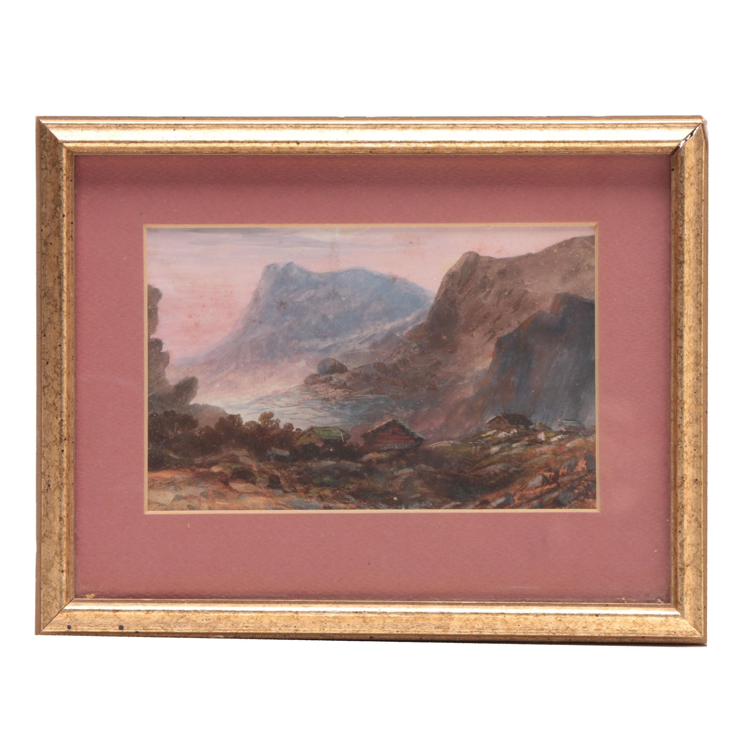 Early 20th Century Gouache and Watercolor Painting of Coastal Landscape