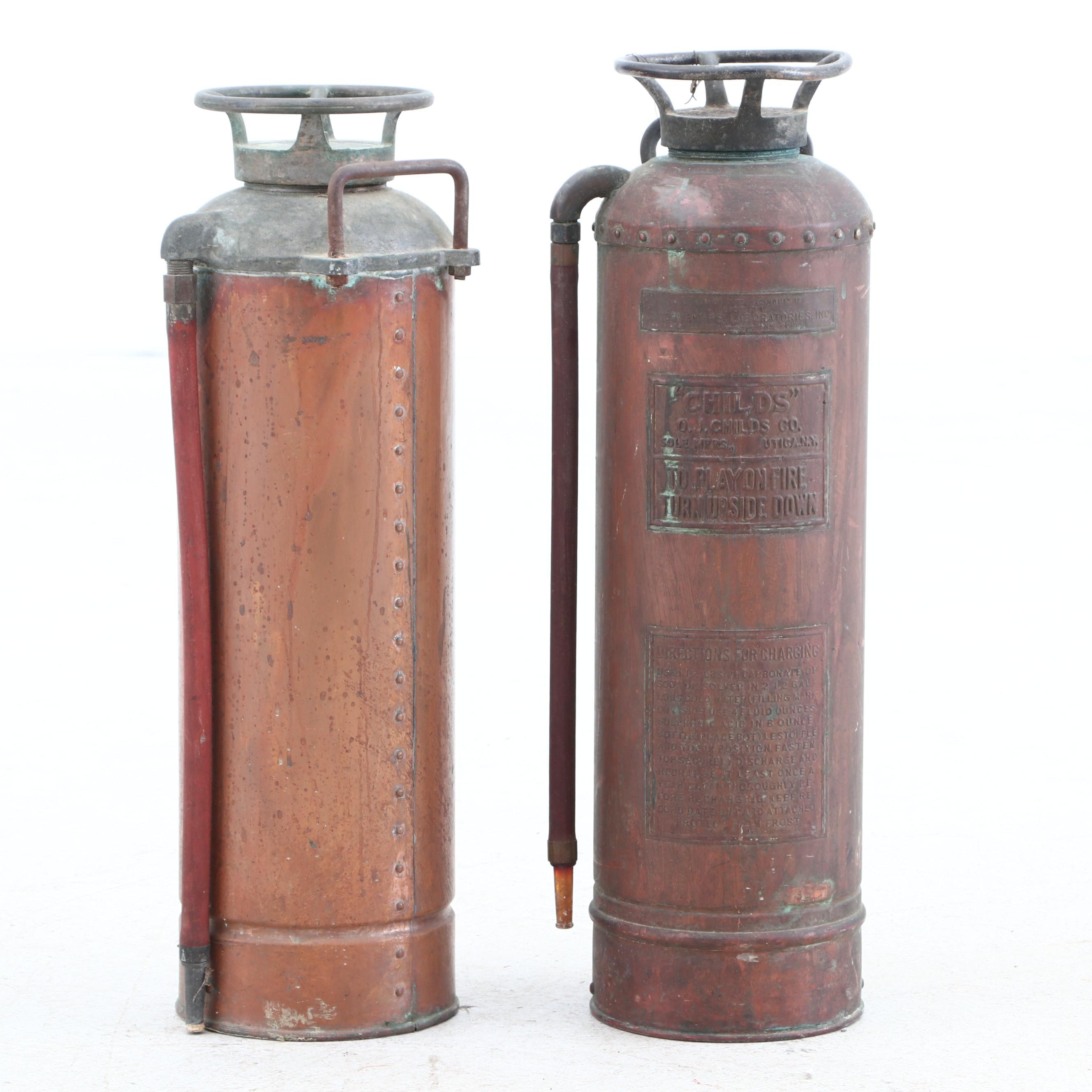 Vintage Fire Extinguishers Including one from Child's