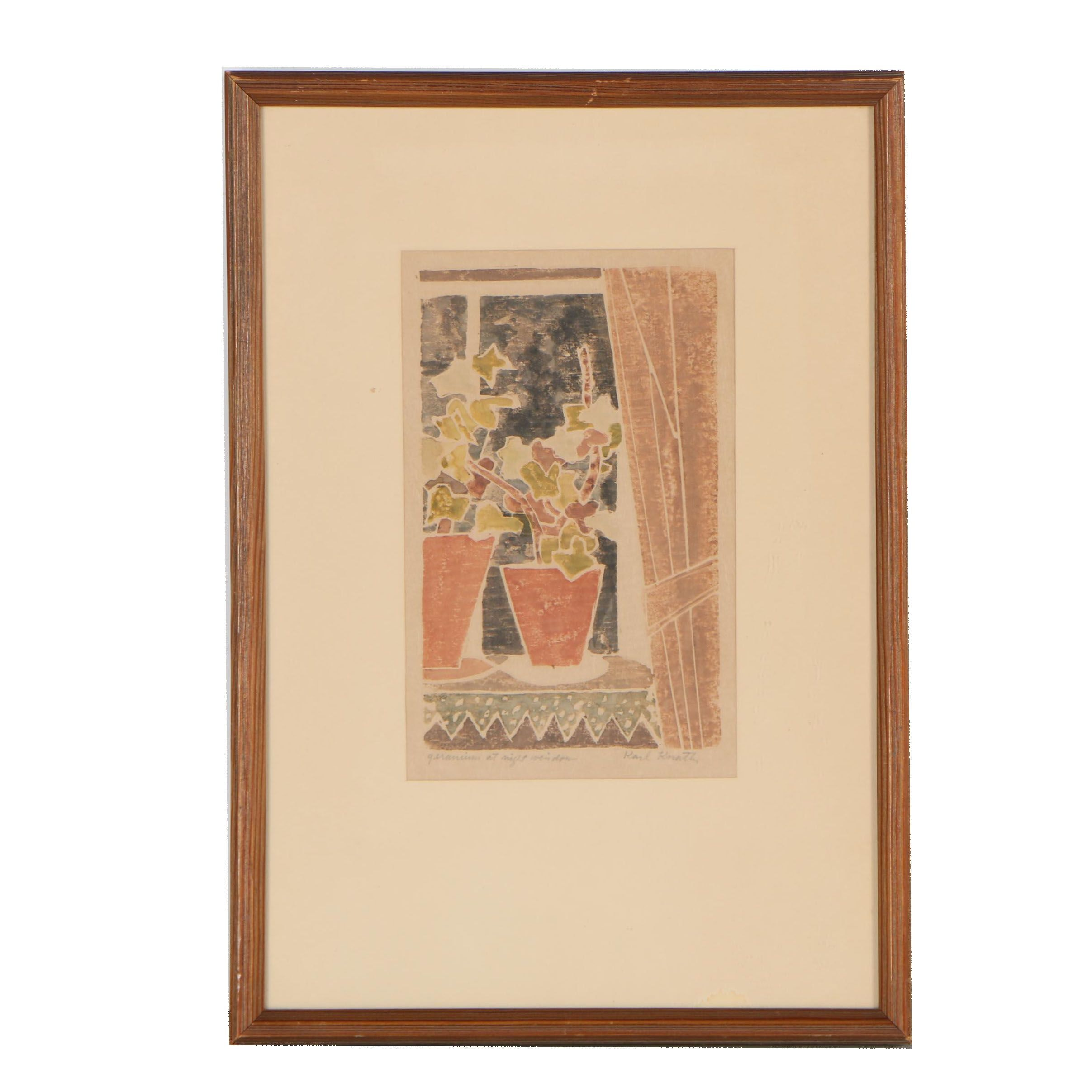 "Karl Knaths 1932 Woodcut ""Geranium at Night Window"""