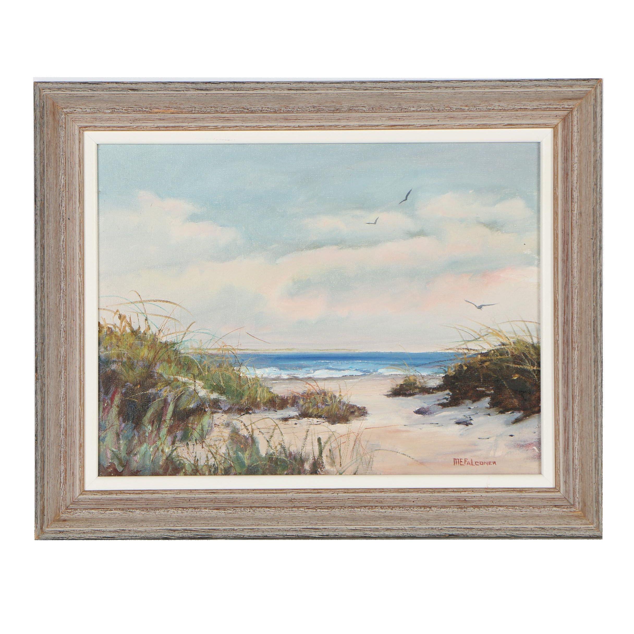 Marguerite E. Falconer Seaside Landscape Oil Painting