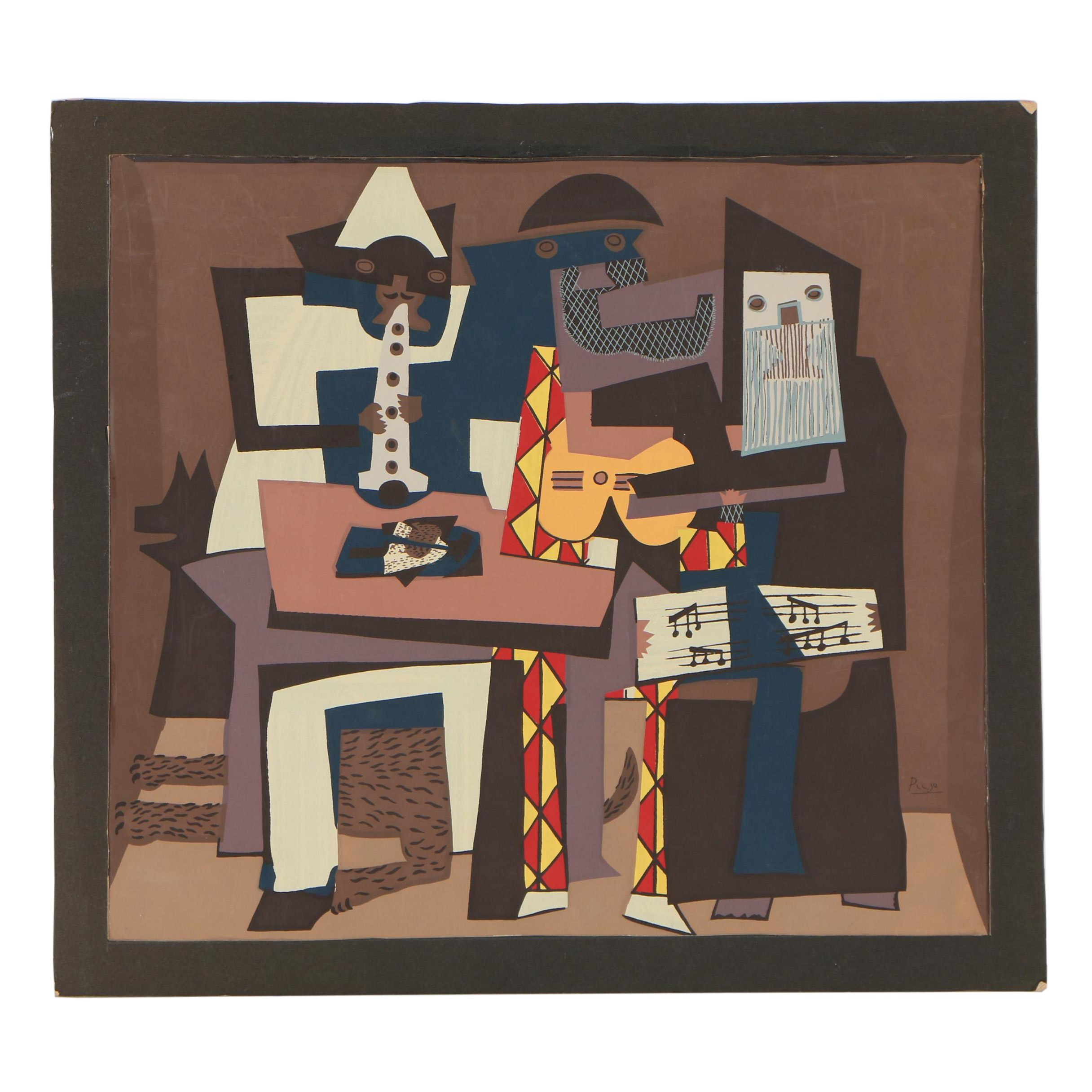 """Serigraph after Pablo Picasso """"Three Musicians"""""""