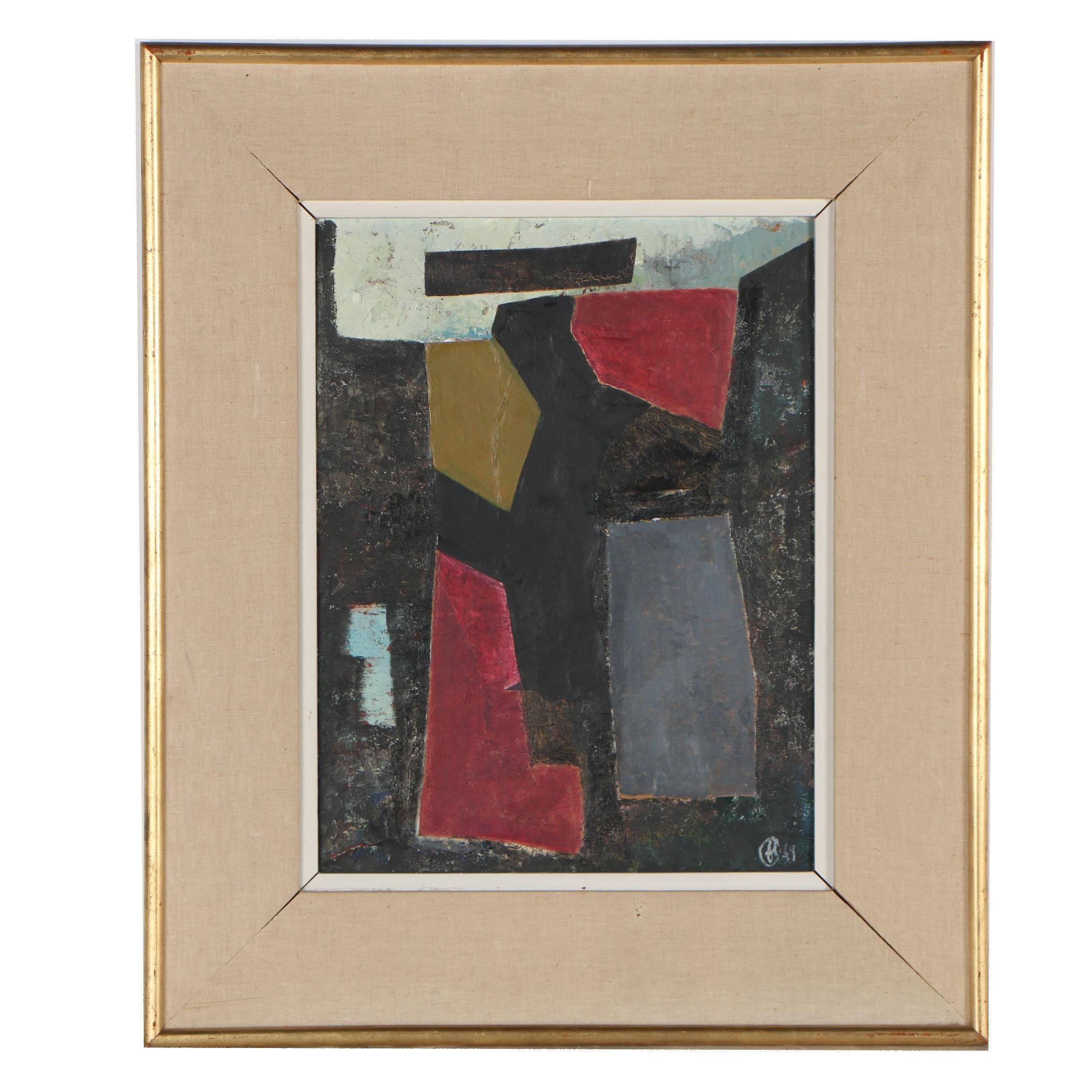 Abstract Mixed Media Painting, circa 1949