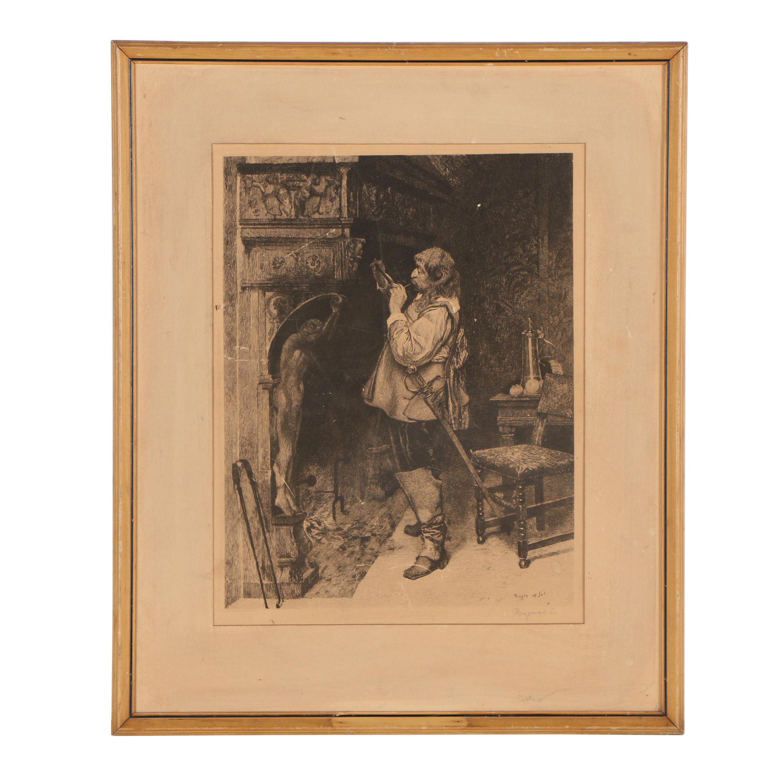 Paul-Adolphe Rajon Engraving of a Cavalier, Late 19th Century