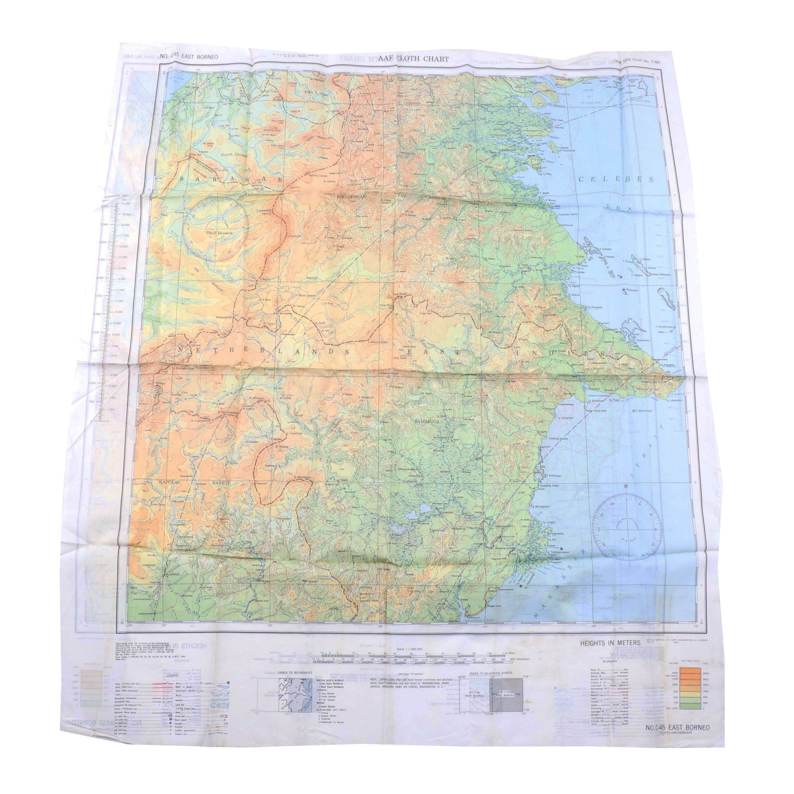 WWII Army Air Force Cloth Pilot Escape Map