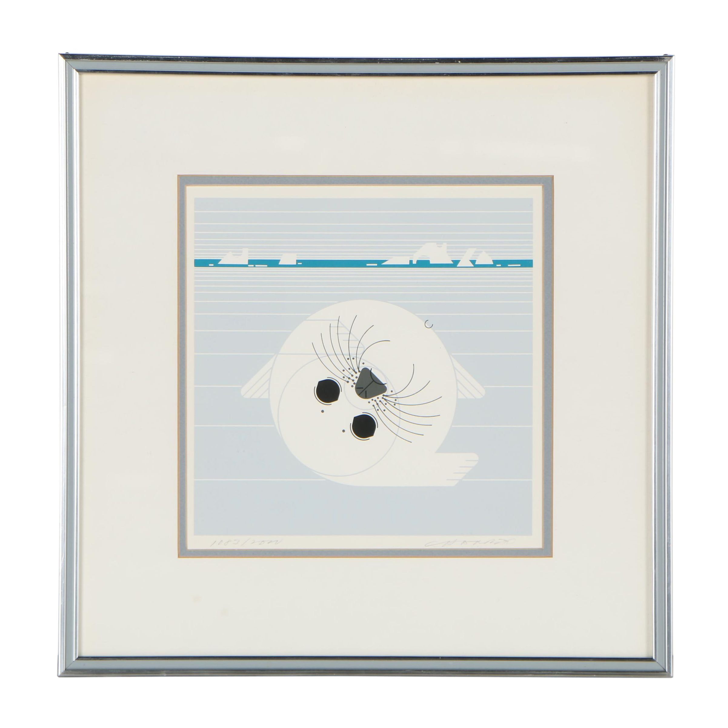"Charley Harper Serigraph ""Whitecoat"", 1975"