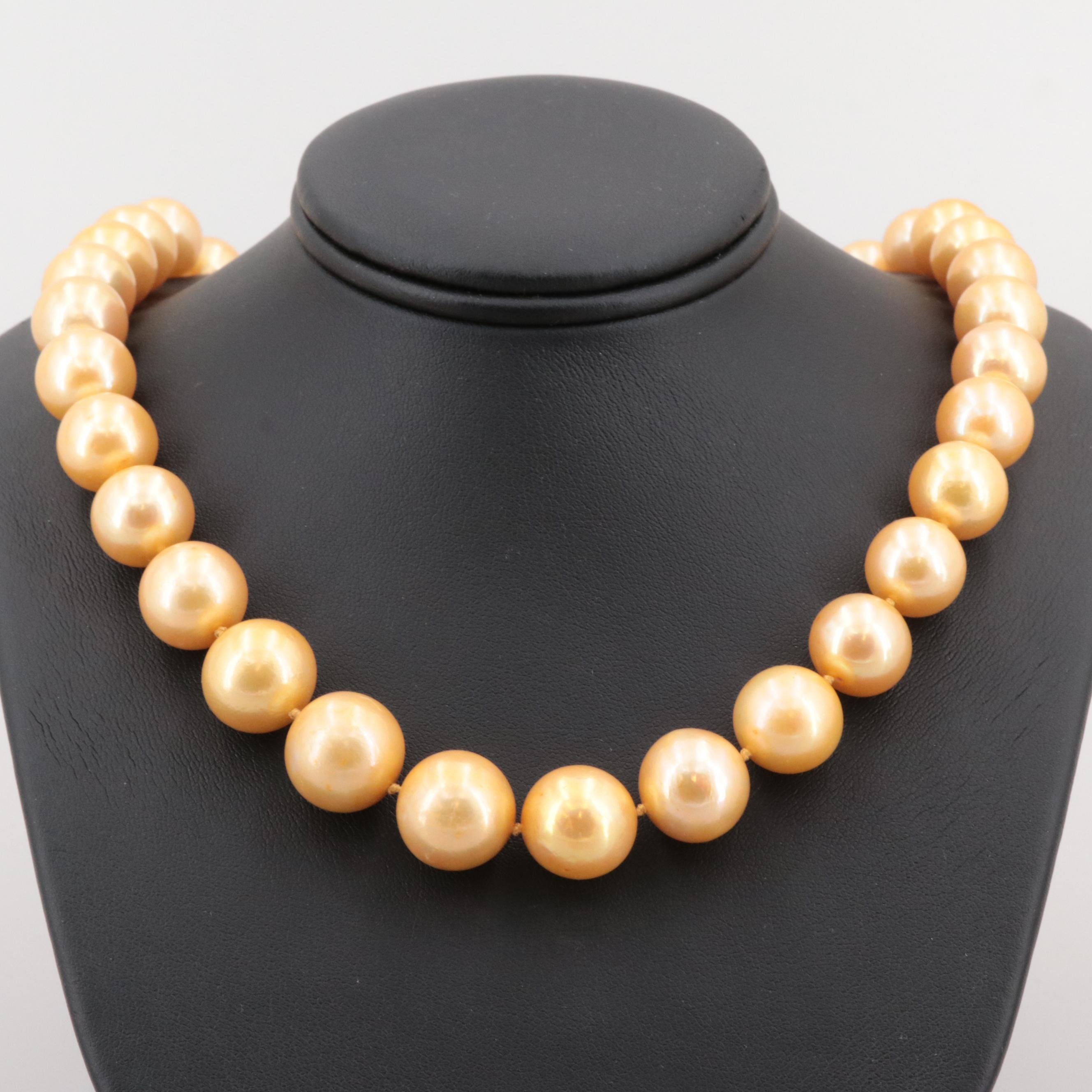 14K Yellow Gold Cultured Pearl Graduated Hand Knotted Necklace with GIA Report