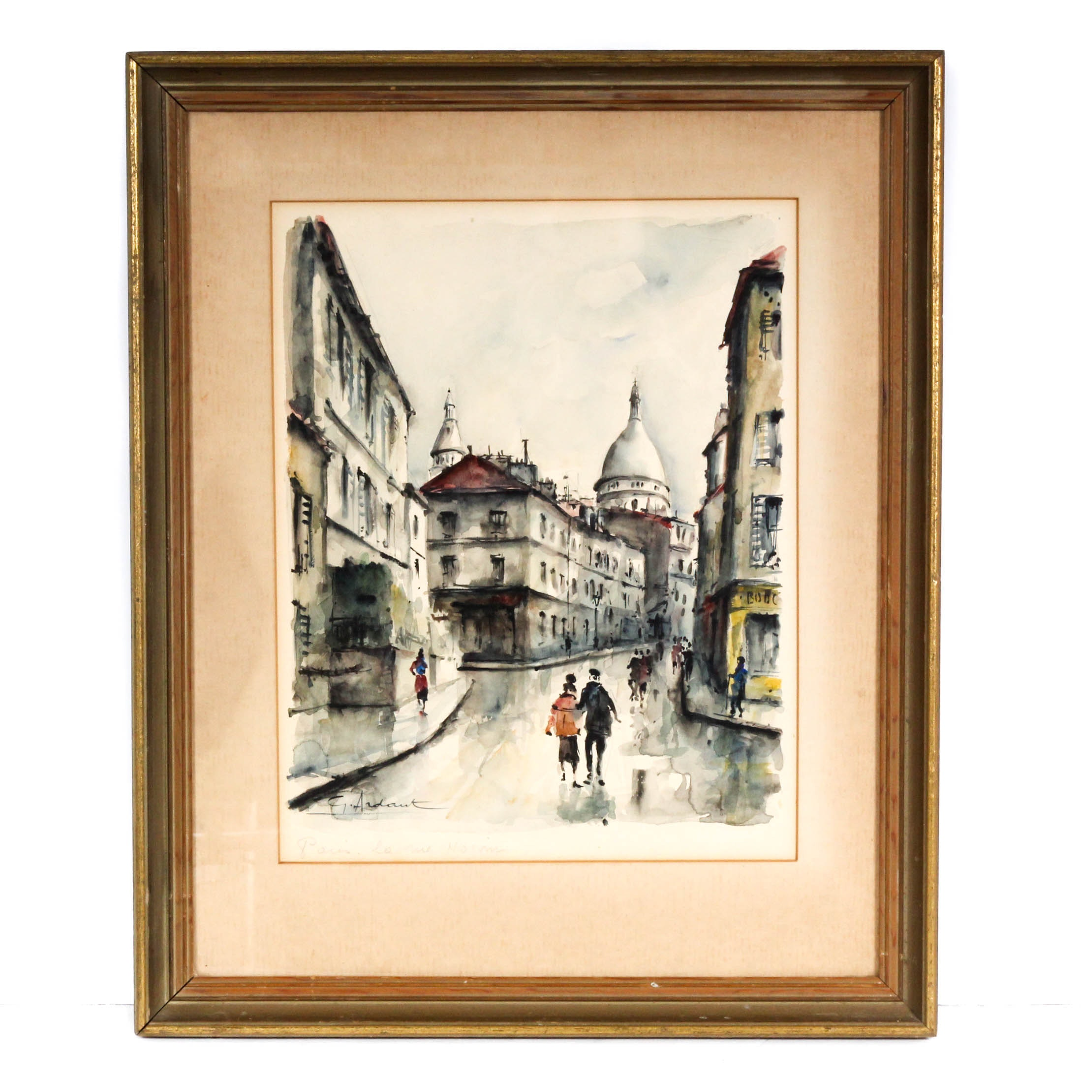 "G. Ardaut Watercolor Painting ""Paris la Rue Norvins"""