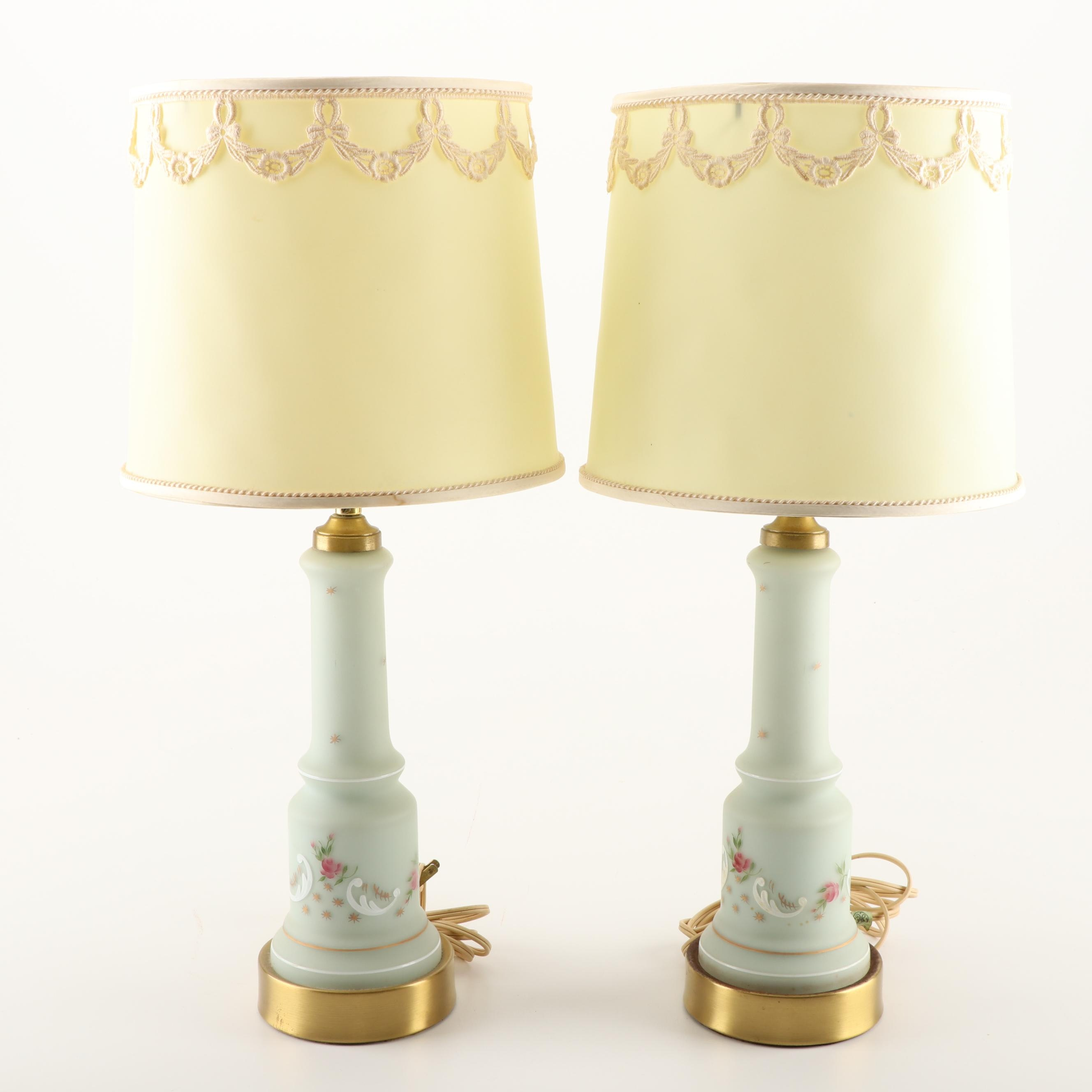 Hand-Painted Frosted Glass Table Lamps with Decorative Shades