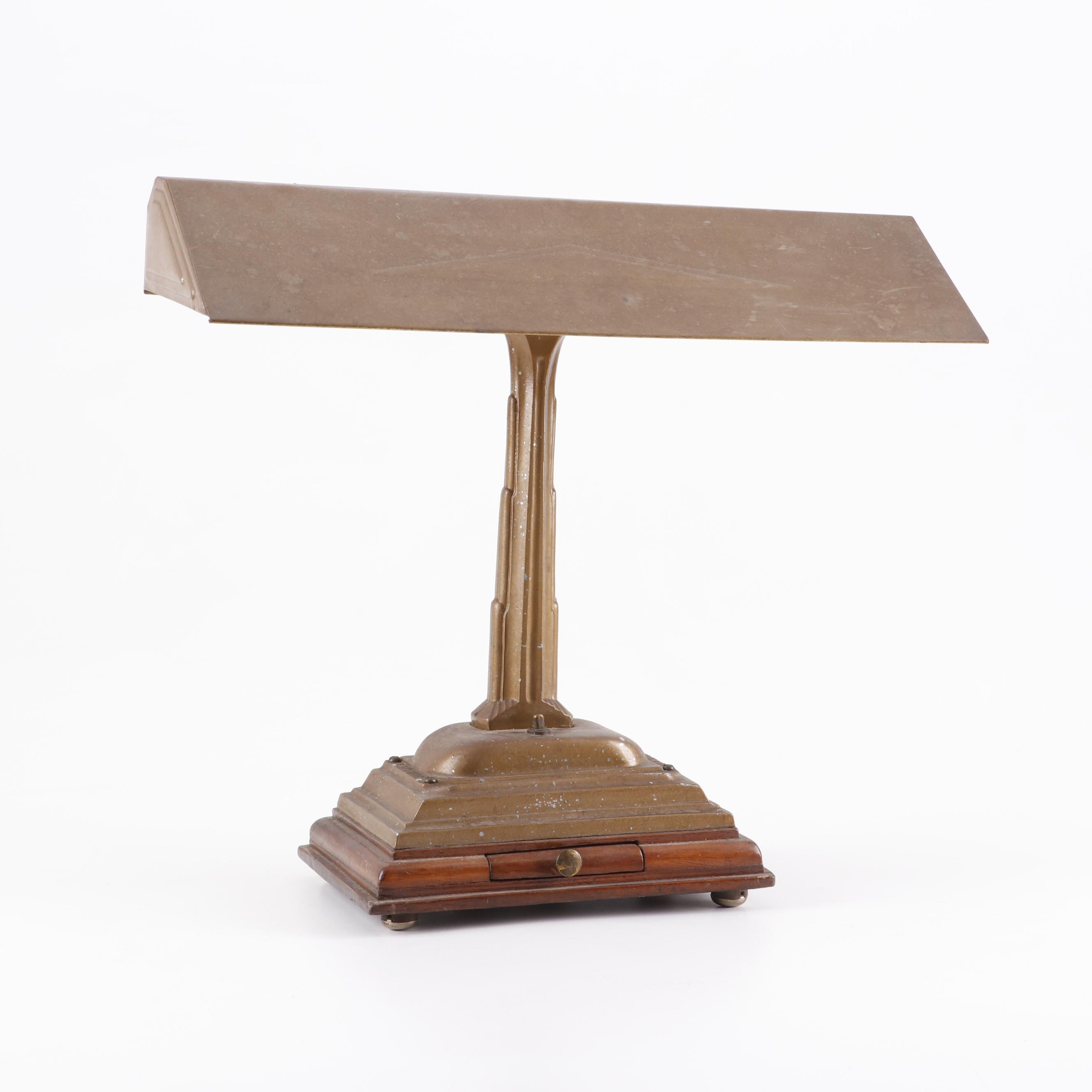 Metal Desk Lamp with Drawer, Early to Mid 20th Century