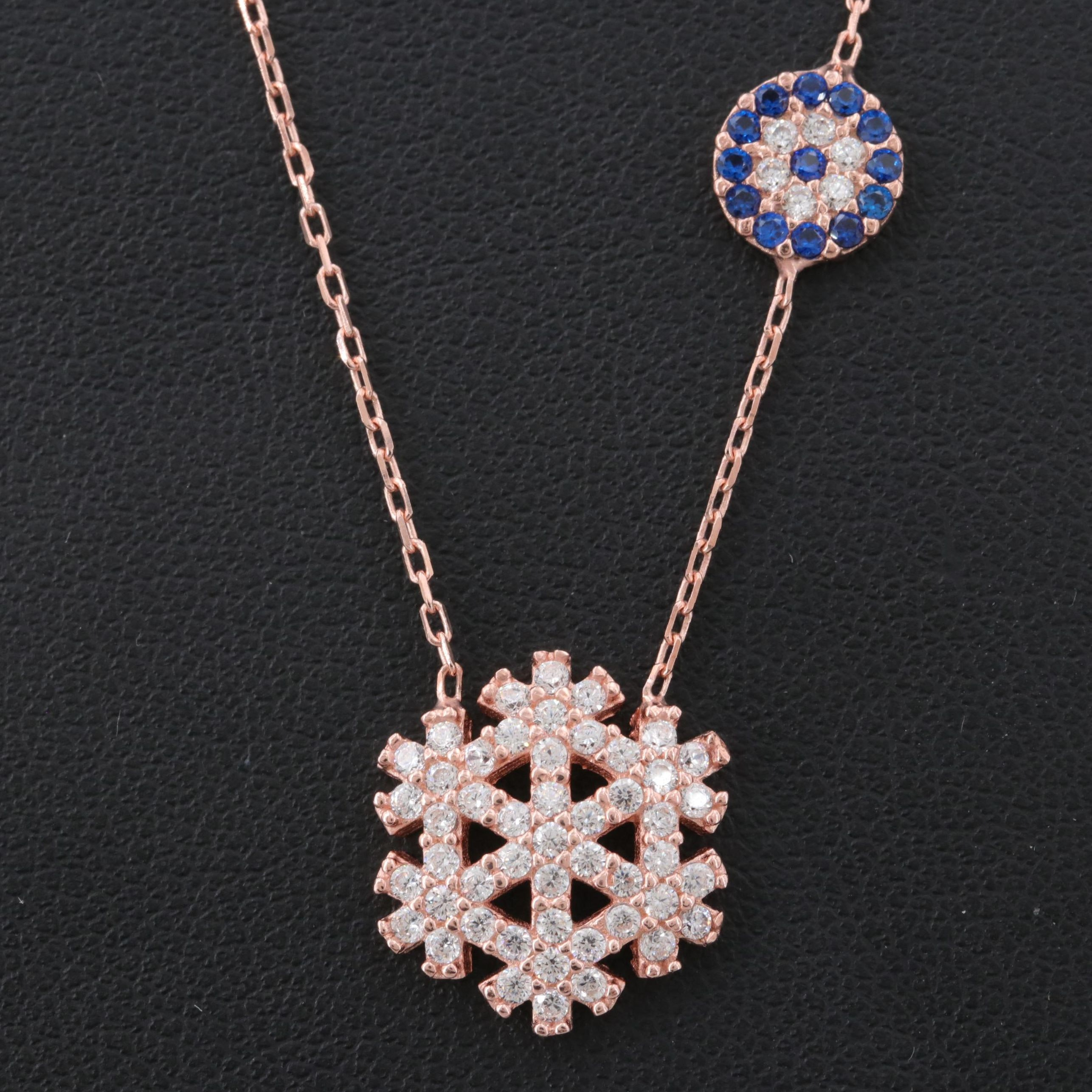 Rose Gold Wash on Sterling Silver Cubic Zirconia and Synthetic Spinel Necklace