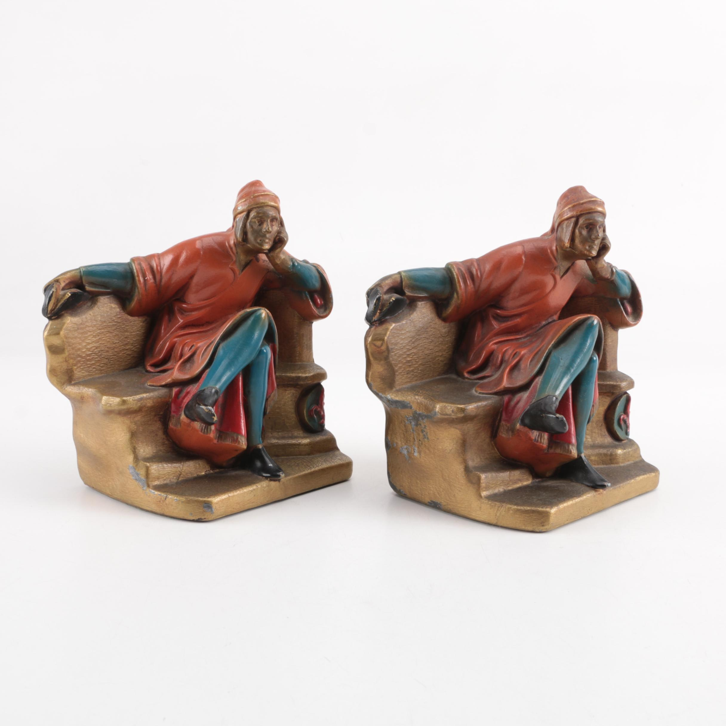 "Cast Metal ""Dante Alighieri"" Polychrome Bookends, circa 1930s"