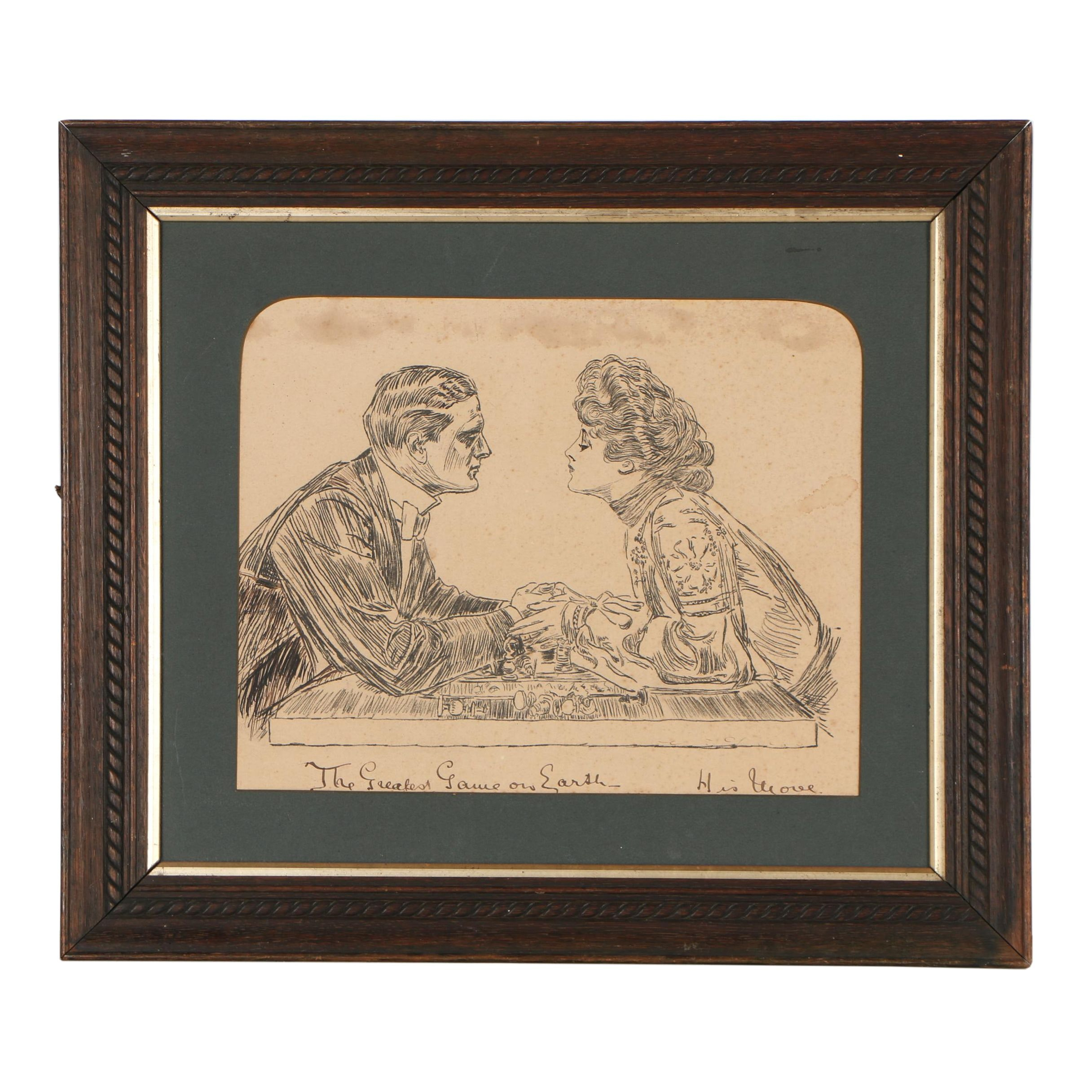 "Lithograph After Charles Dana Gibson ""The Greatest Game on Earth - His Move"""