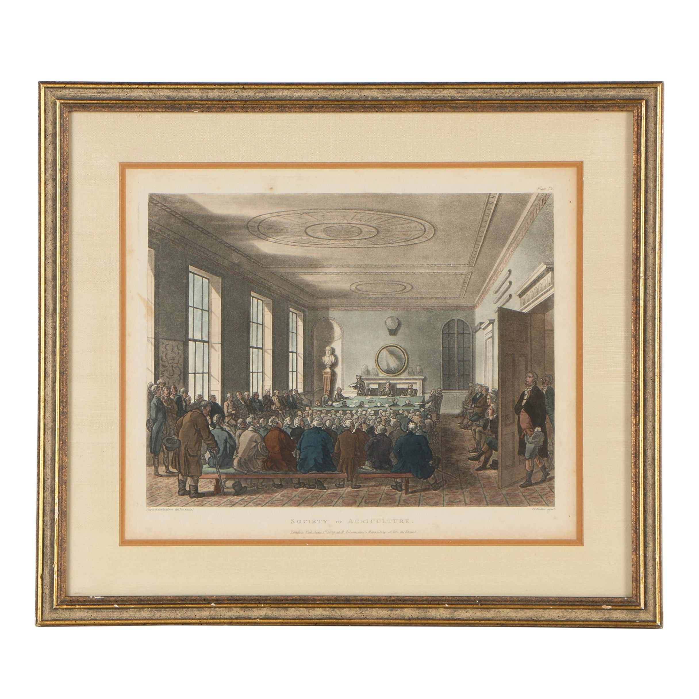 """Pugin and Rowlandson Hand-Colored Etching """"Society of Agriculture"""", 1809"""