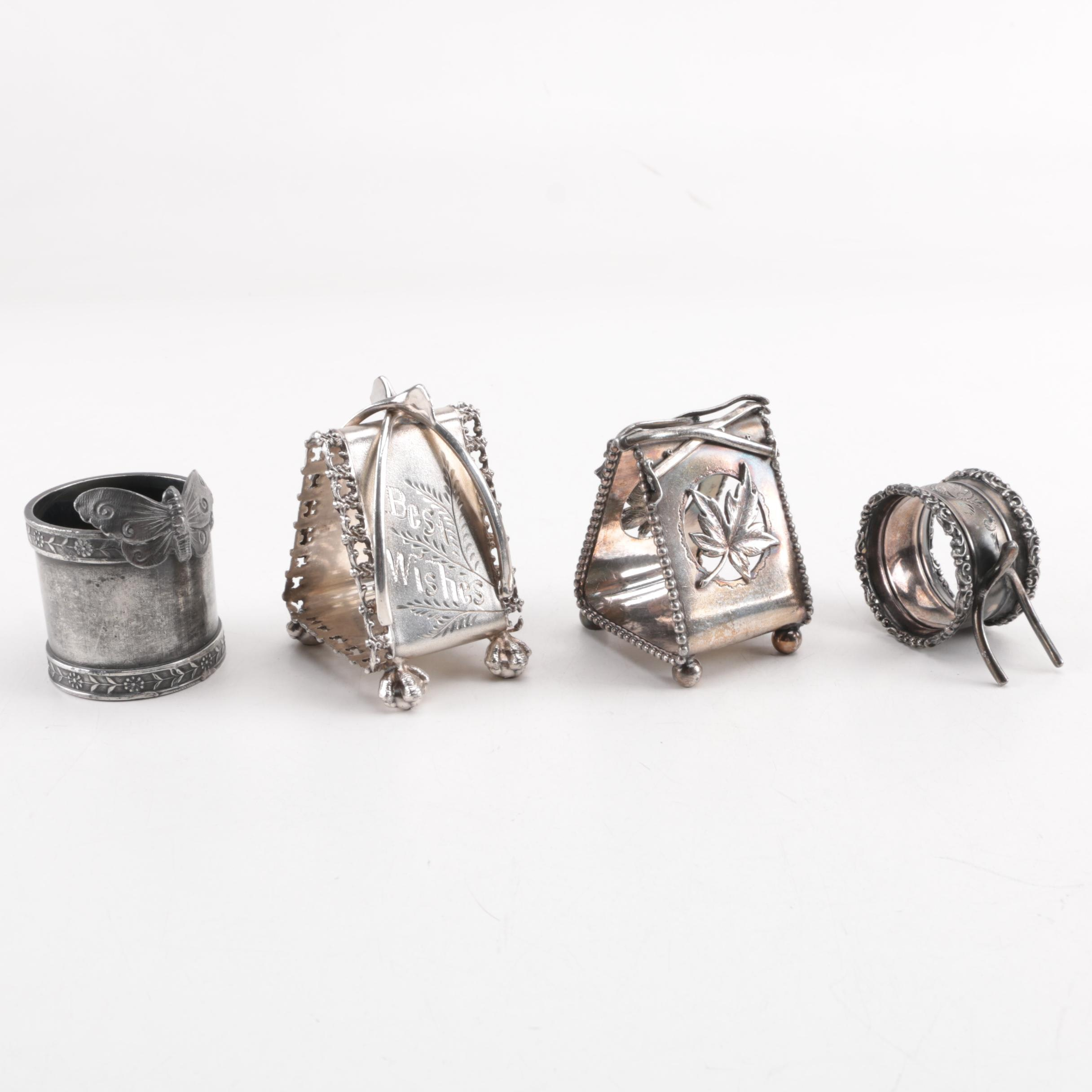 Silver Plate Wishbone and Engraved Napkin Rings, Early 20th Century