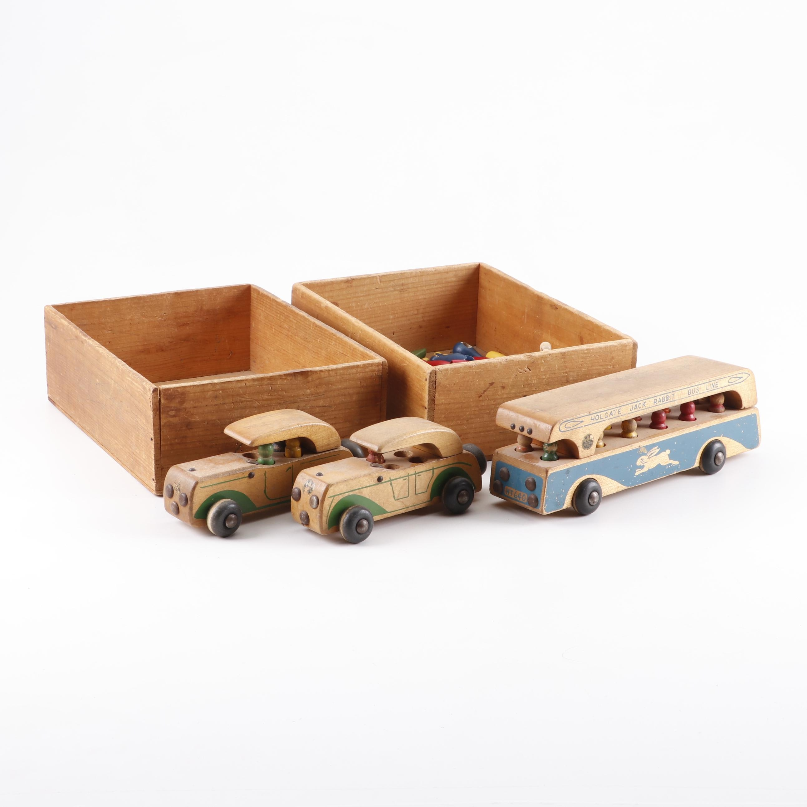1940s Wooden Toy Collection and Bins