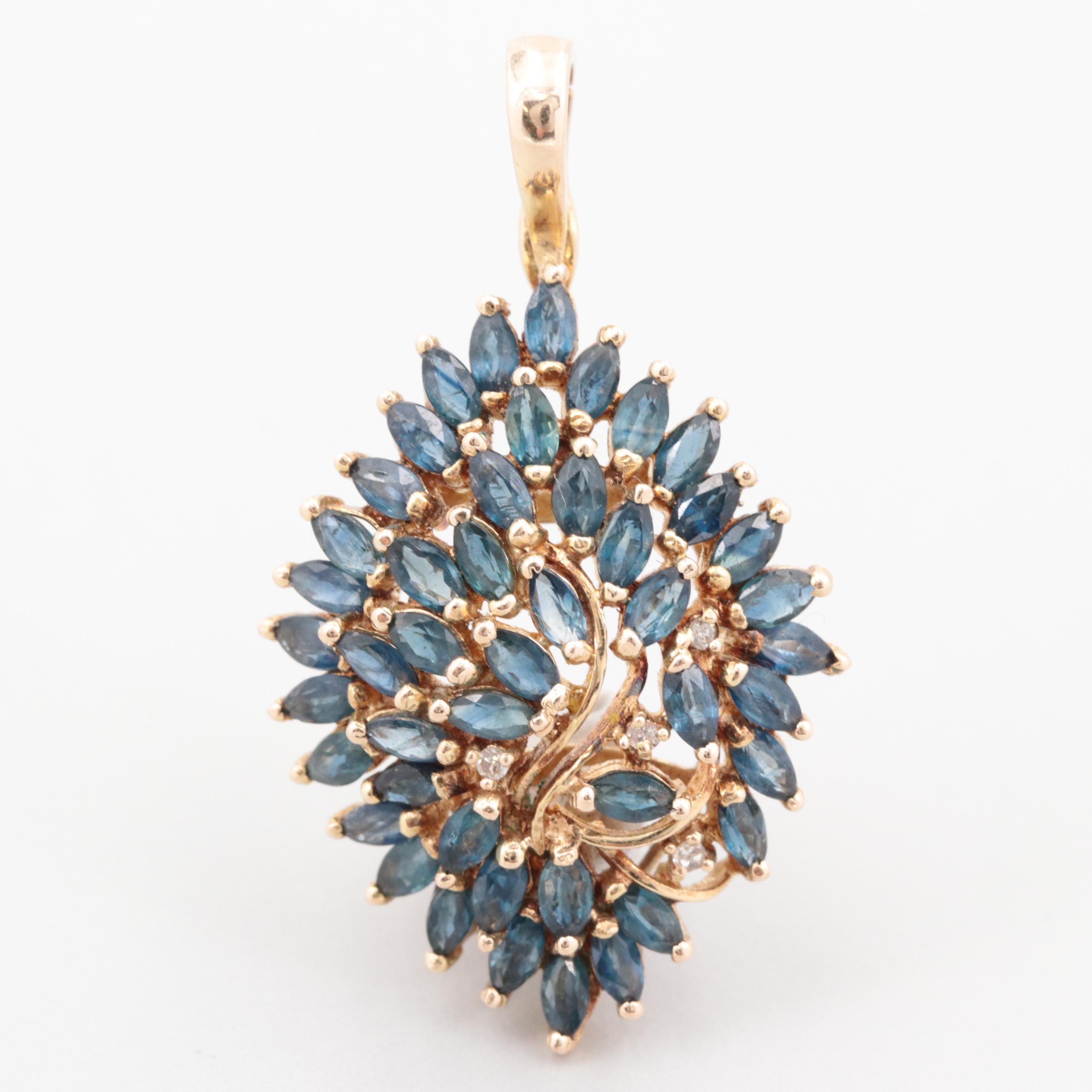 14K Yellow Gold Blue Sapphire and Diamond Enhancer Pendant
