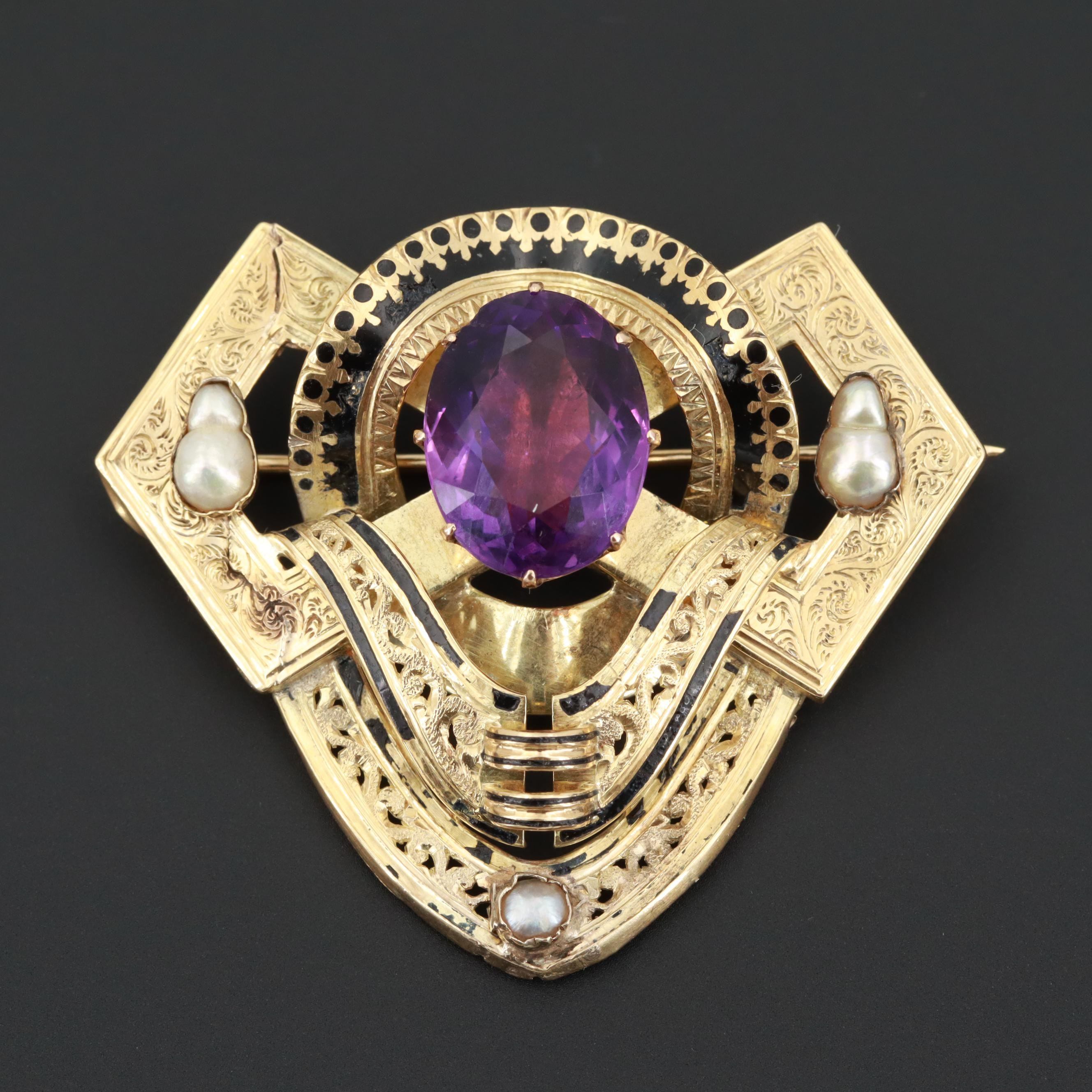 Mid-Victorian 14K Yellow Gold Amethyst, Seed Pearl and Enamel Brooch