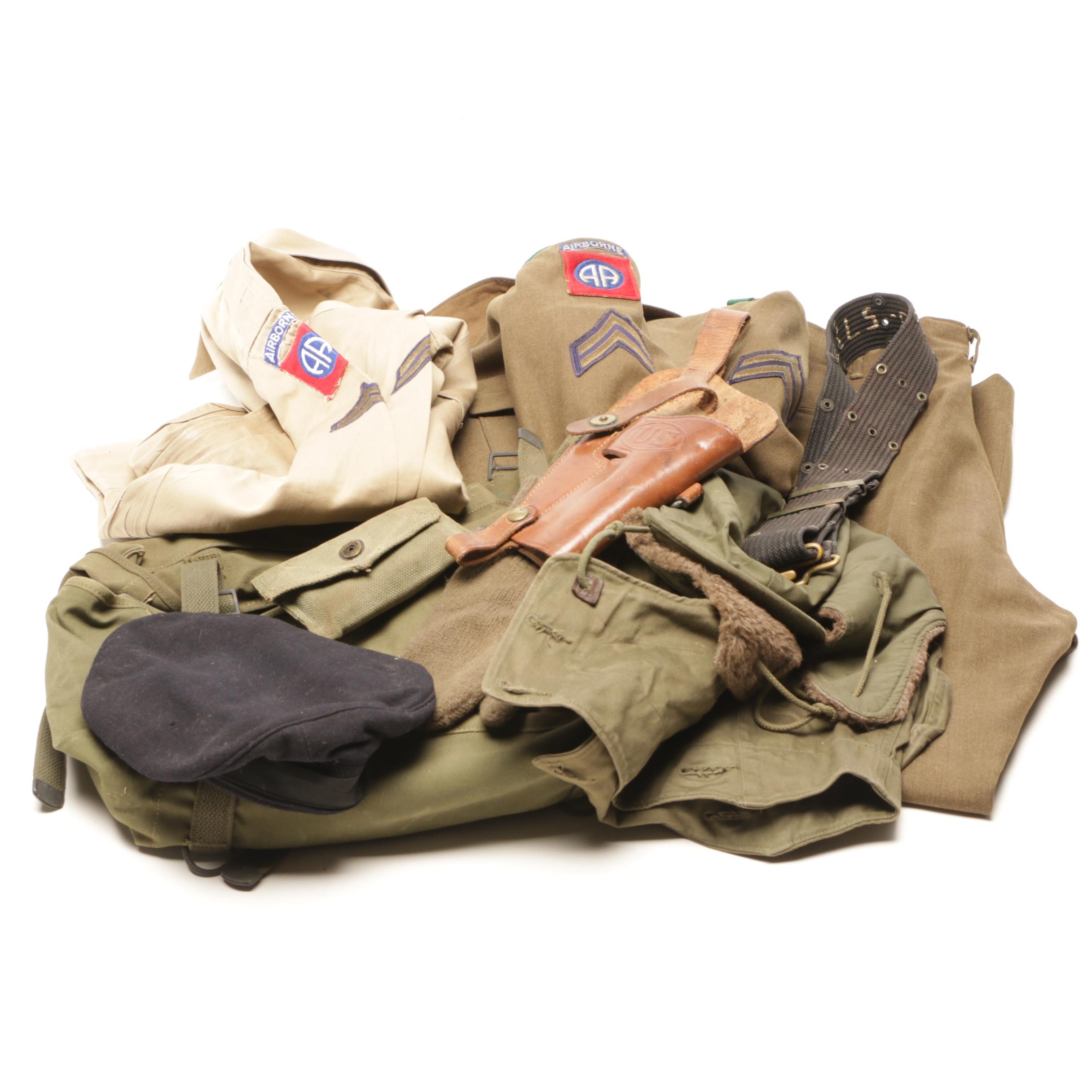 WWII United States Airborne Memorabilia Including Uniform, Bags and More