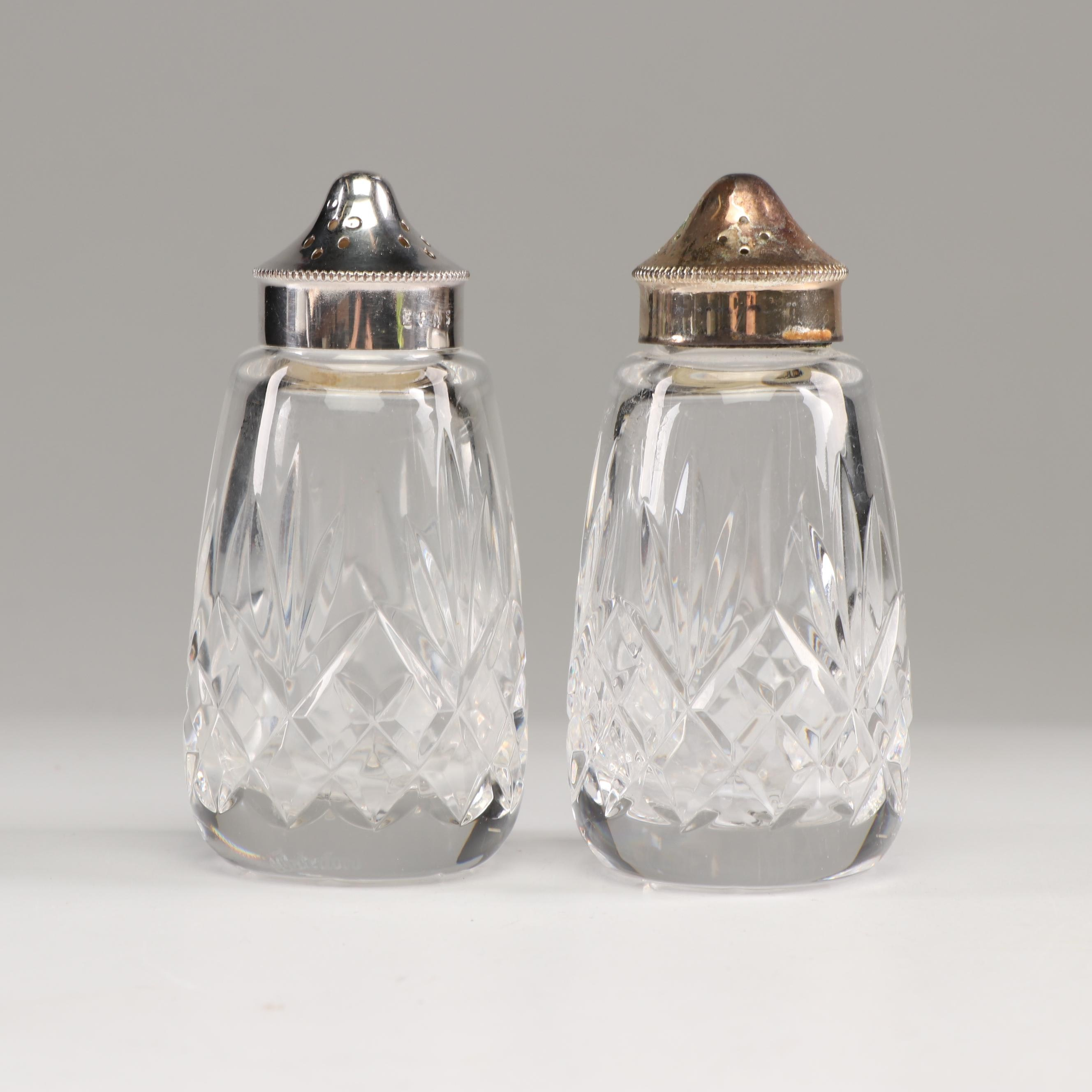 """Waterford """"Lismore"""" Lead Glass Salt and Pepper Shakers"""