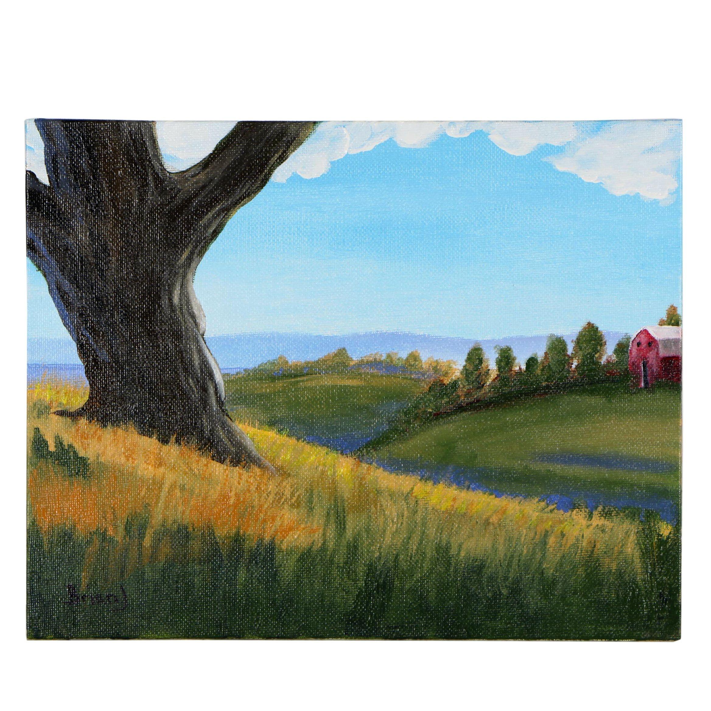 "Brian Johnpeer Acrylic Painting ""Abandoned Barn"""