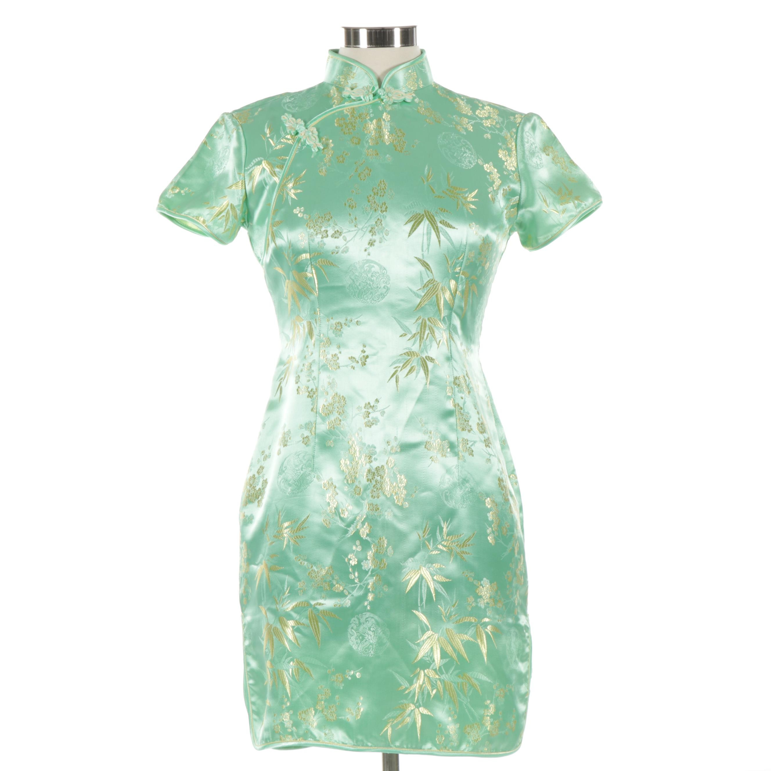 Women's Chinese Floral and Bamboo Leaf Brocade Cheongsam Dress