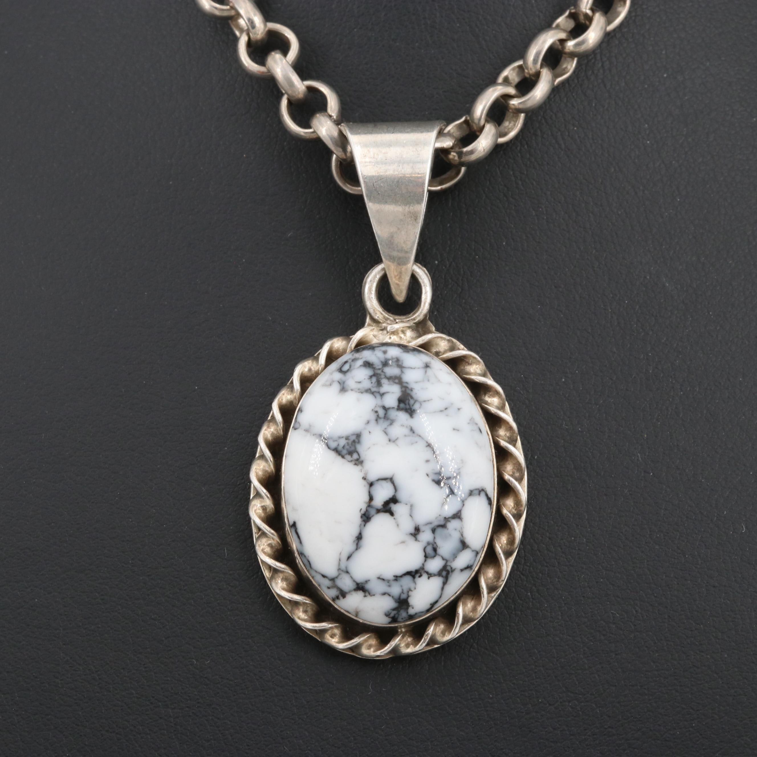 Mexico Sterling Silver Howlite Necklace
