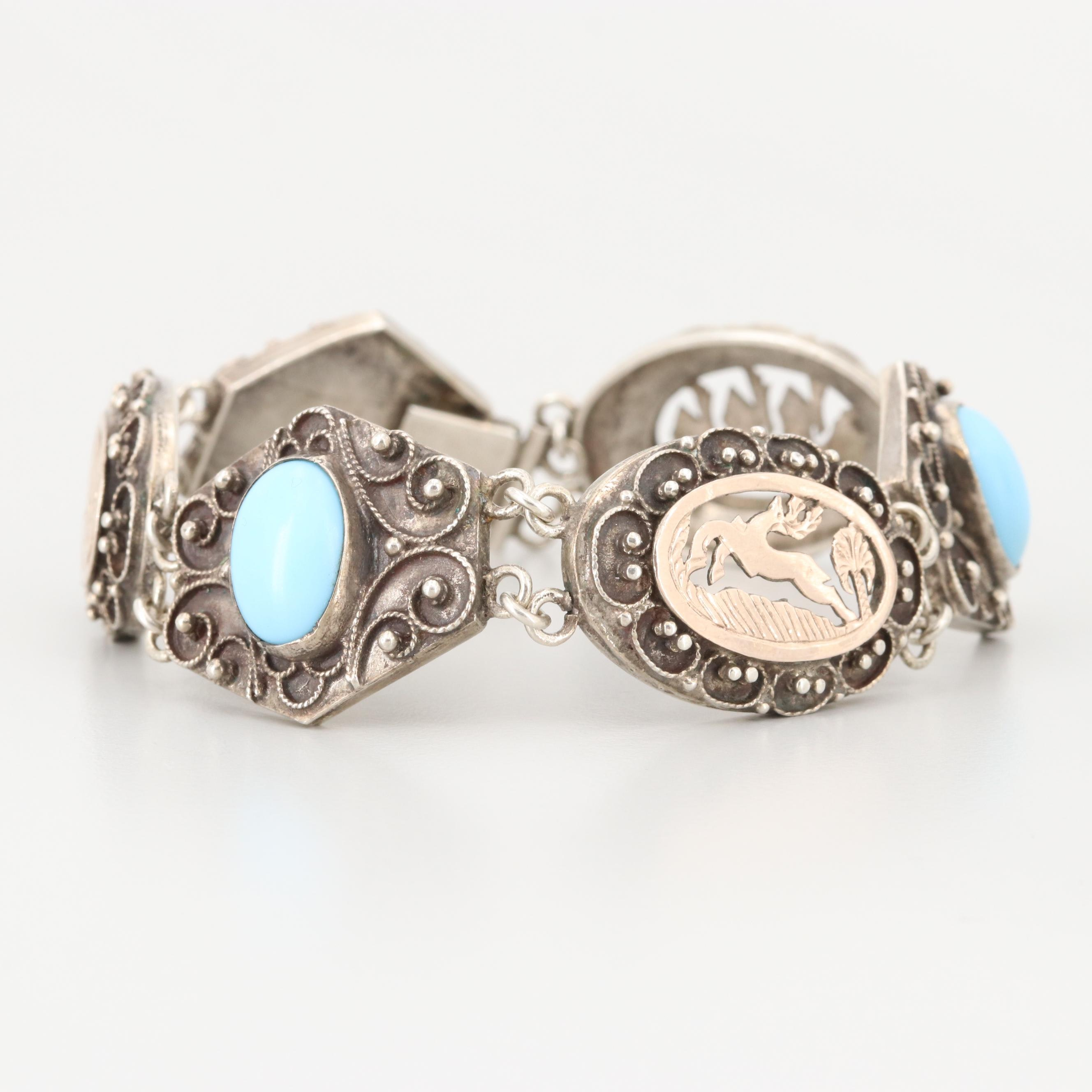 Vintage Sterling Imitation Turquoise Panel Bracelet with Gold Wash Accents