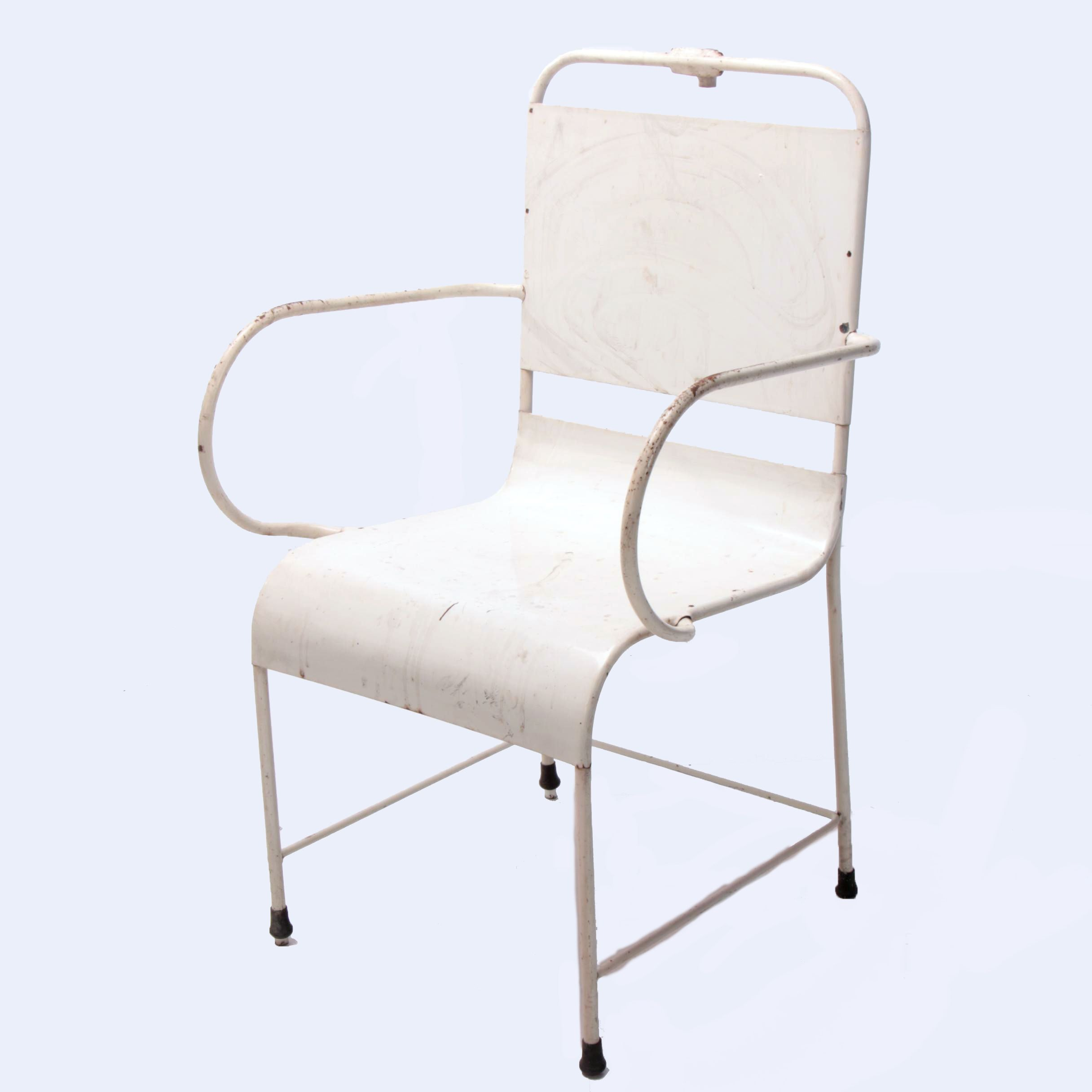 A.S. Aloe Co., White-Painted Steel Medical Exam Chair, 2nd Quarter 20th Century