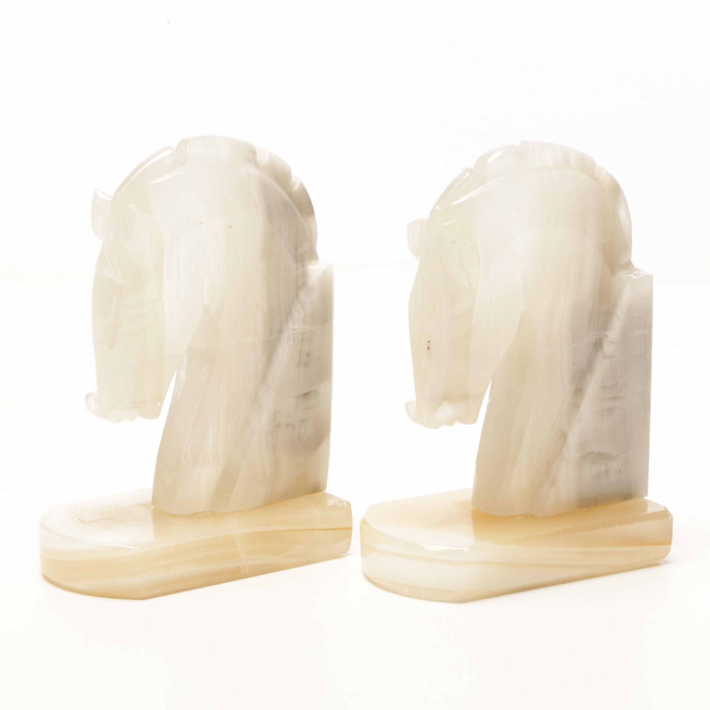 Banded Calcite Horse Head Bookends
