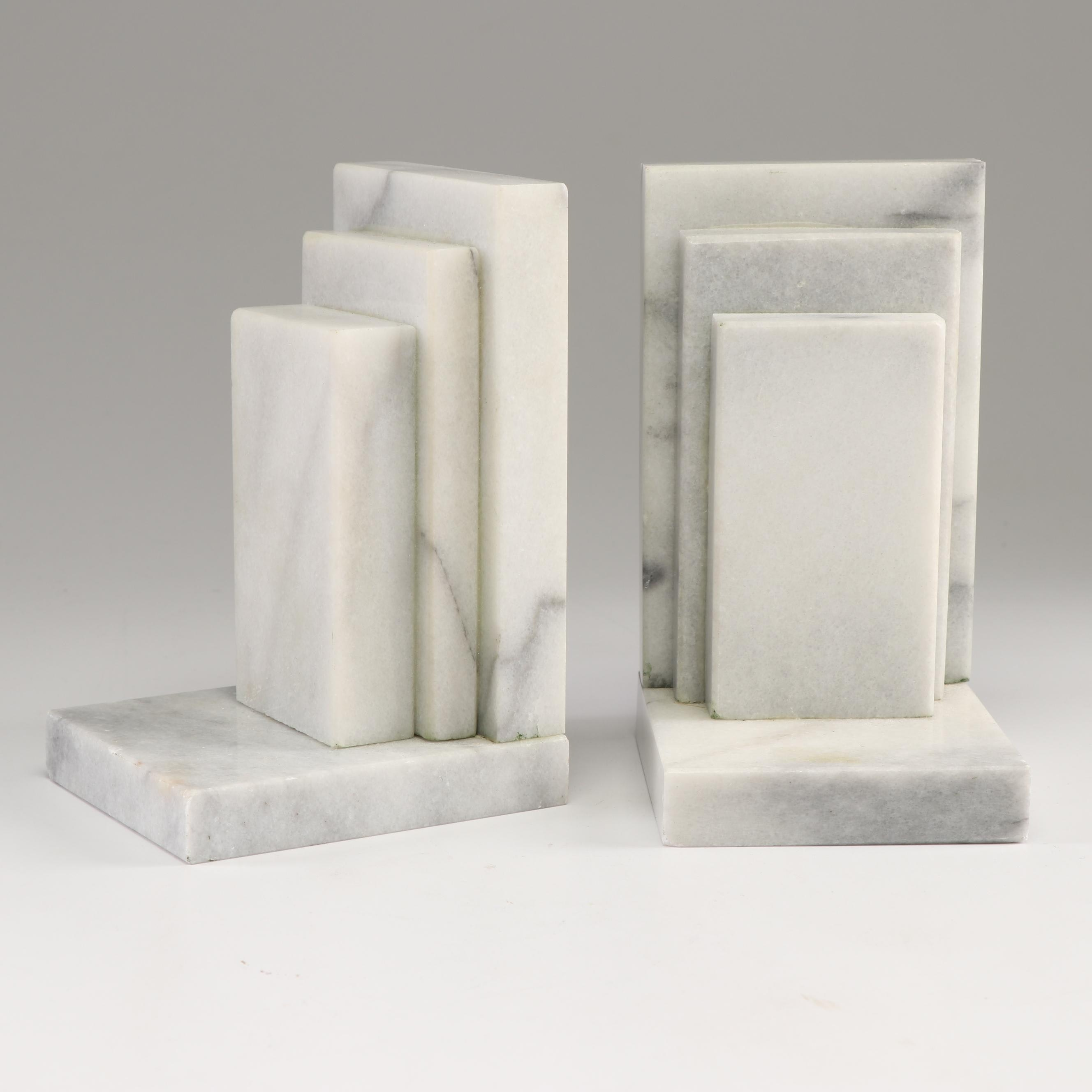 Stacked Marble Bookends
