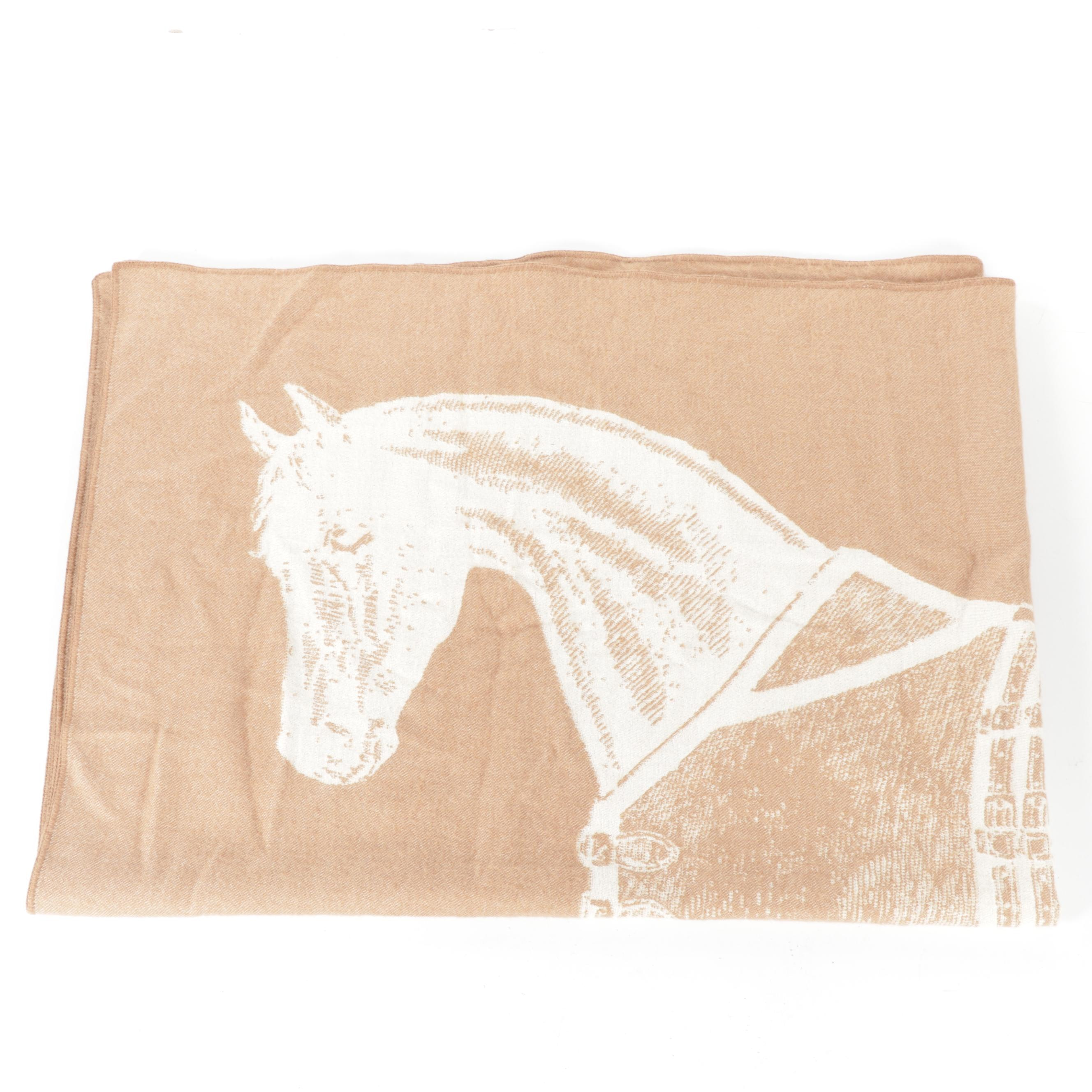 Peruvian Woven Alpaca Throw Blanket with Reversible Horse Design