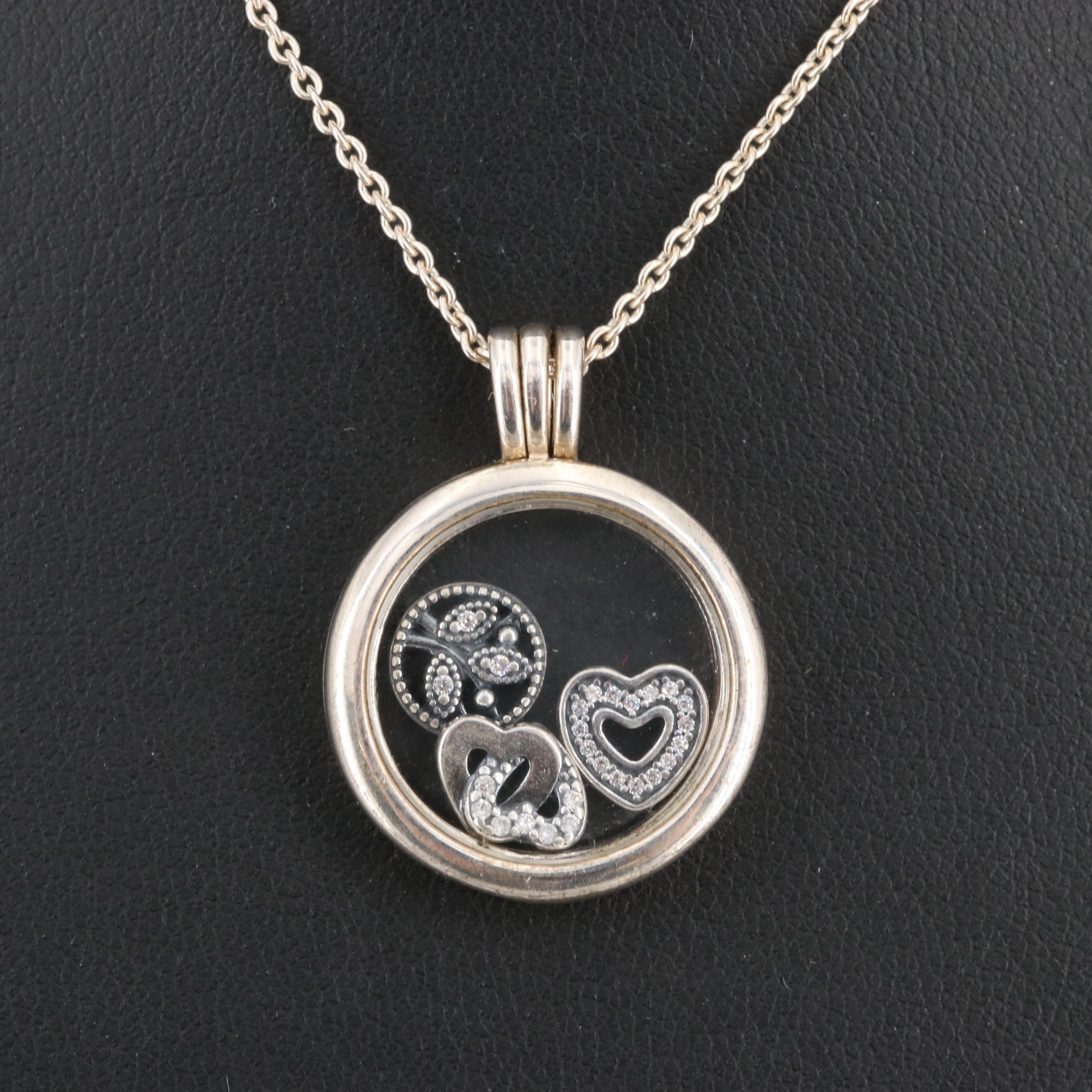 Pandora Sterling Silver Cubic Zirconia Necklace with Box