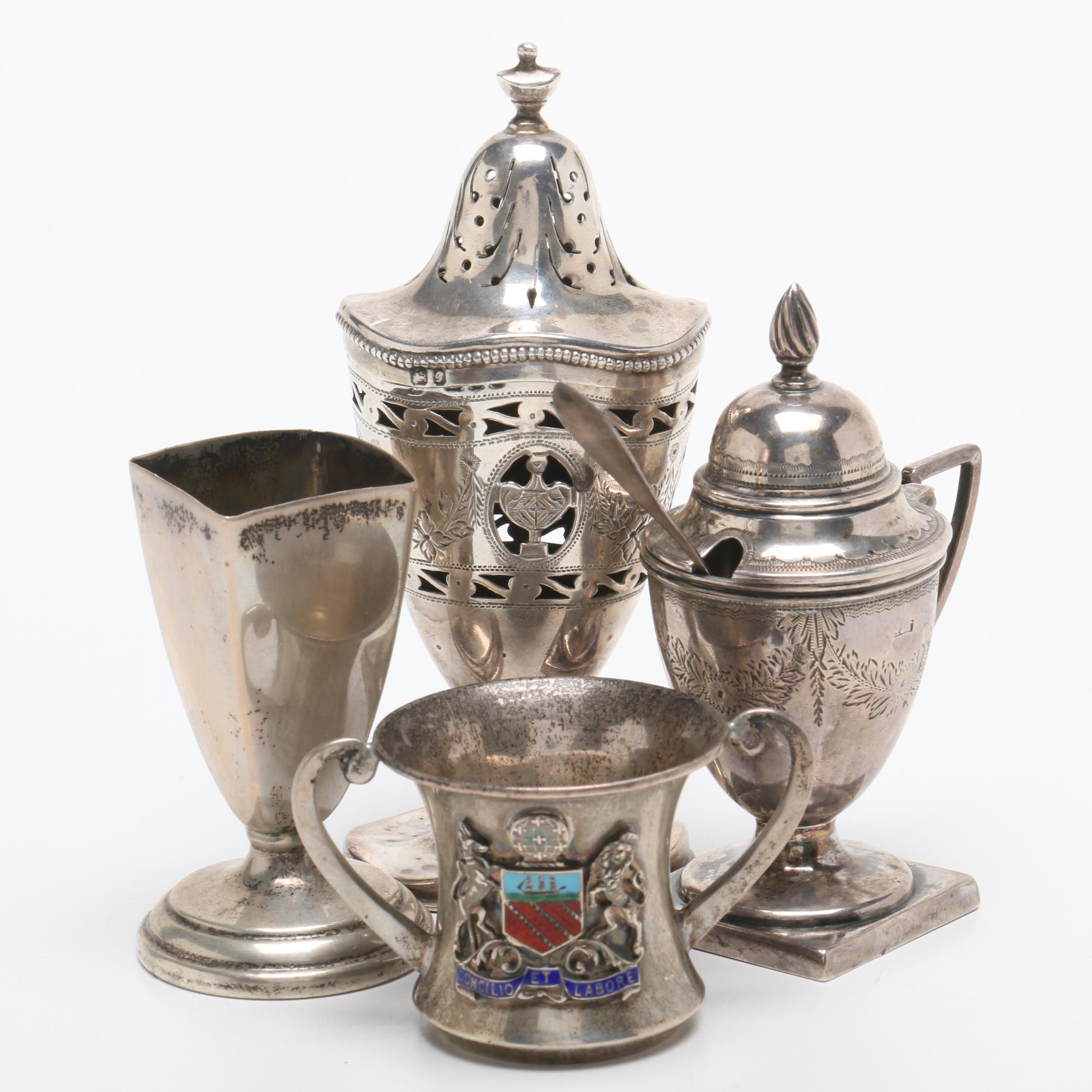 1904 Sterling Silver Levi and Salaman Birmingham Enameled Cup and More