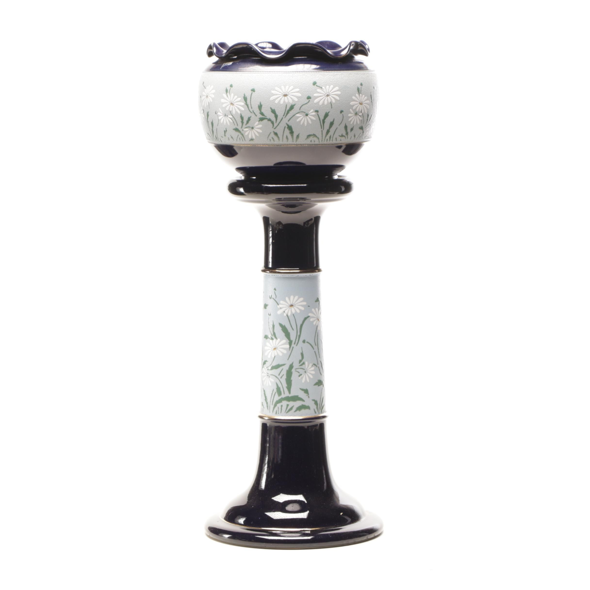 Langley Mill English Jardiniere and Pedestal, Early to Mid 20th Century