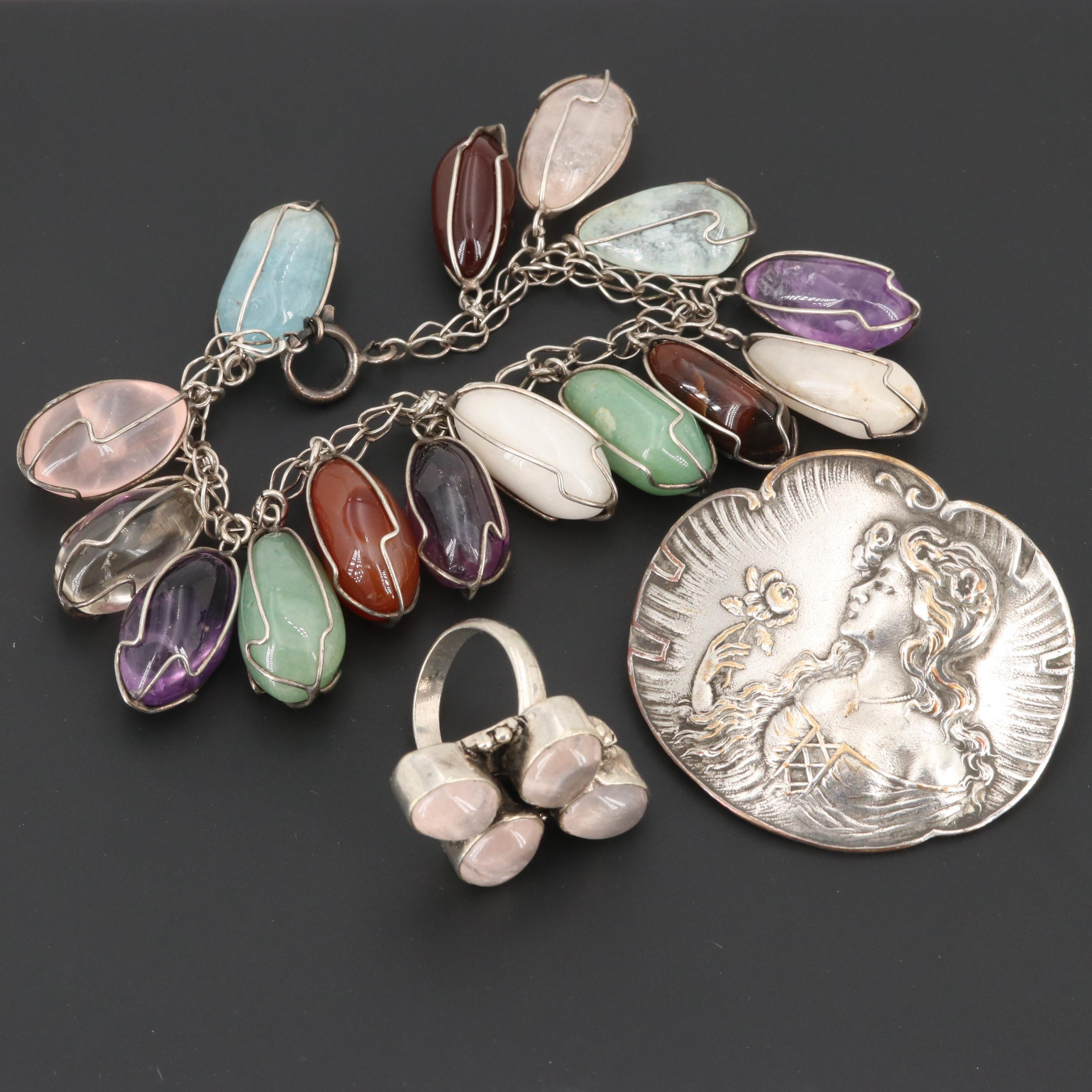 Sterling Silver Jewelry Including Aventurine, Agate and Art Nouveau Brooch