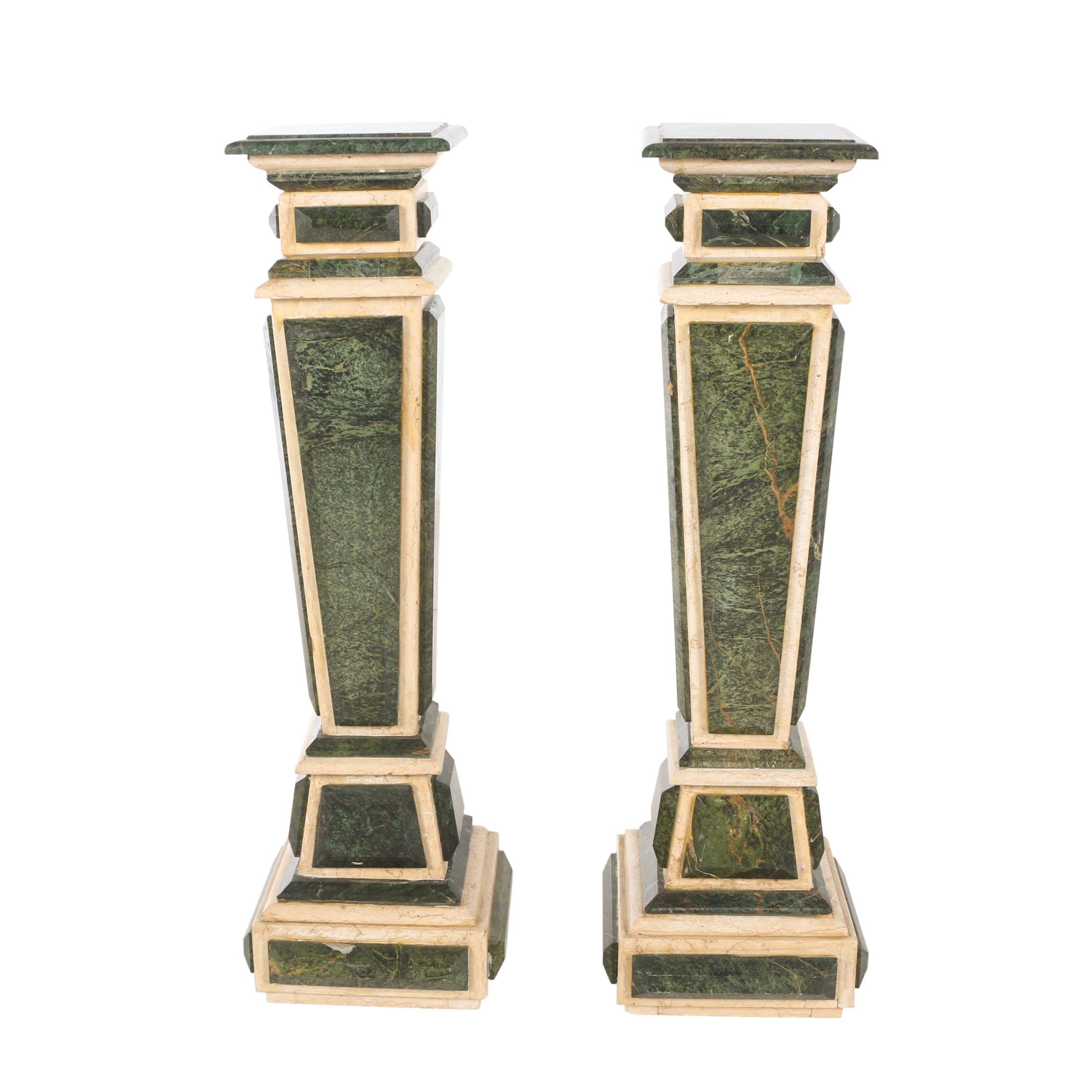Pair of Green and White Marble Pedestals, Probably Italian, 20th Century