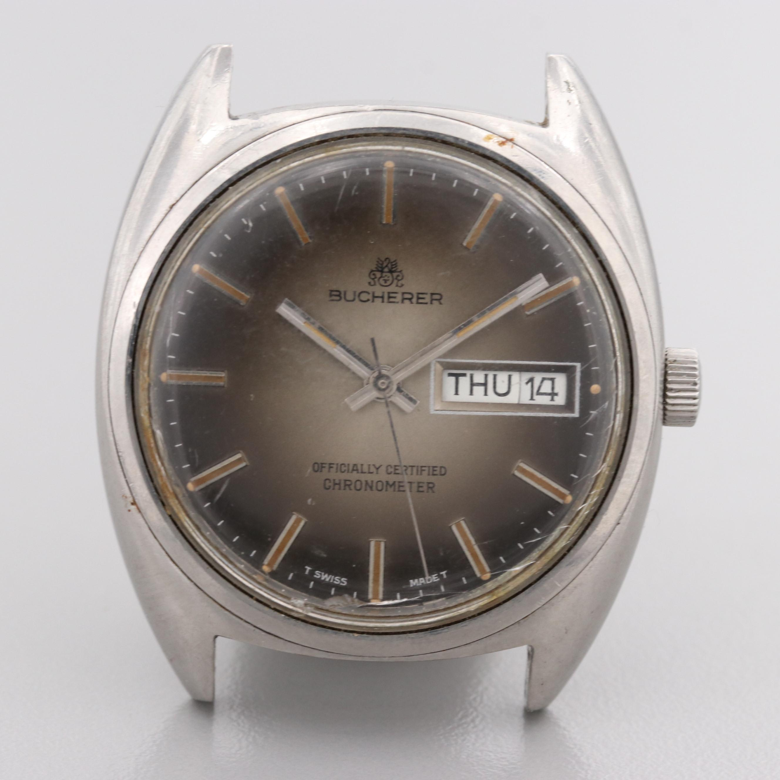 Vintage Bucherer Stainless Steel Automatic Wristwatch With Day and Date